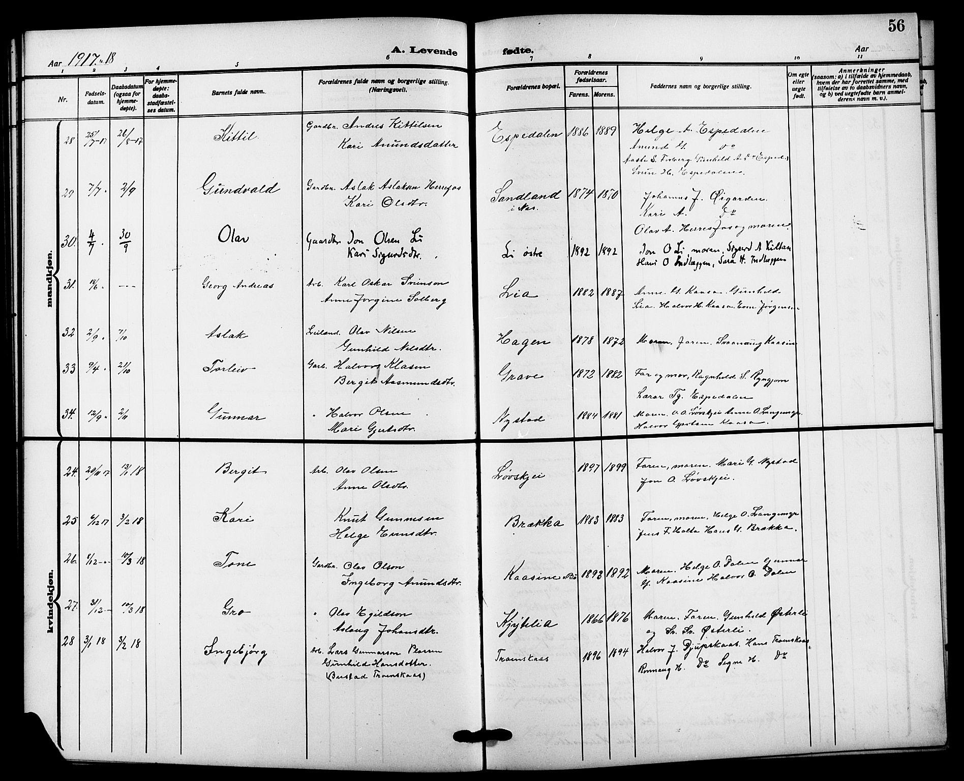SAKO, Bø kirkebøker, G/Ga/L0007: Klokkerbok nr. 7, 1909-1924, s. 56