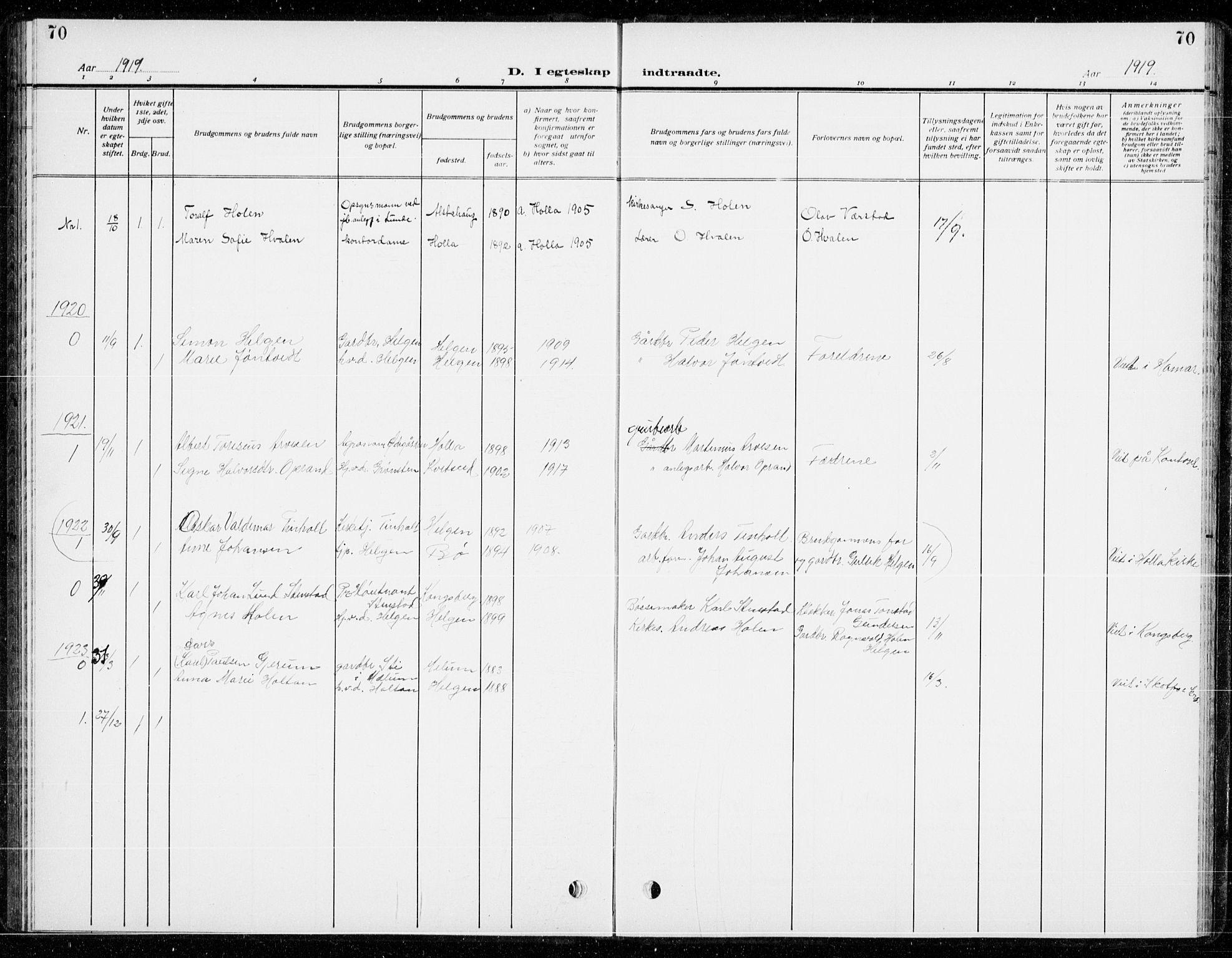 SAKO, Holla kirkebøker, G/Gb/L0003: Klokkerbok nr. II 3, 1914-1941, s. 70