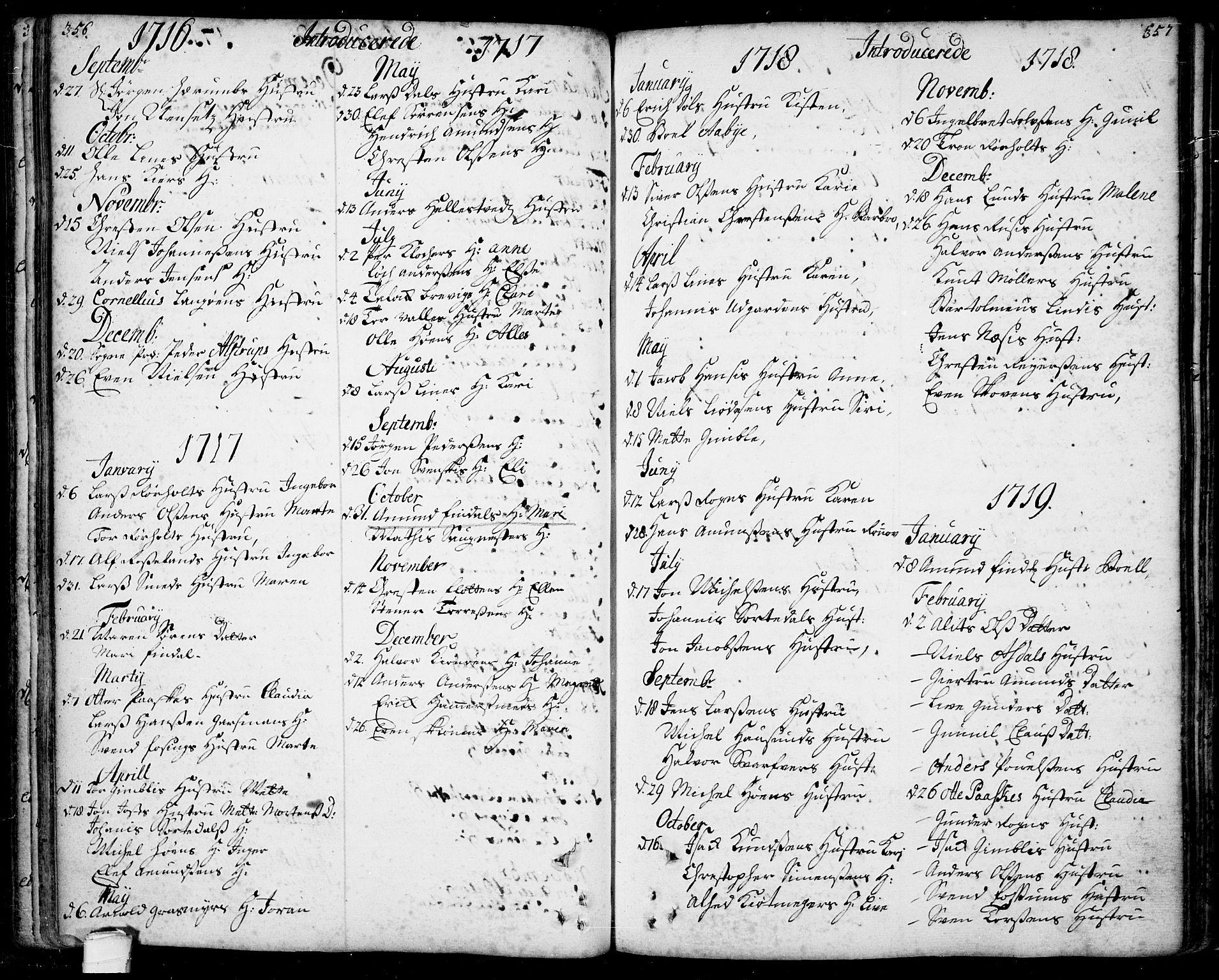 SAKO, Bamble kirkebøker, F/Fa/L0001: Ministerialbok nr. I 1, 1702-1774, s. 356-357