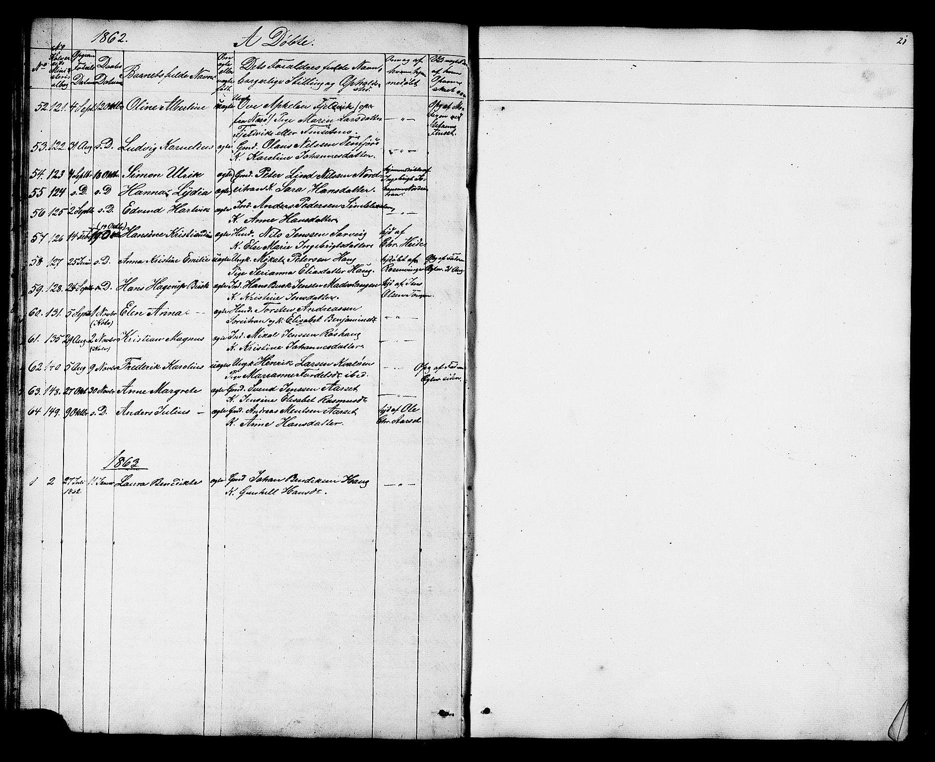 SAT, Ministerialprotokoller, klokkerbøker og fødselsregistre - Nord-Trøndelag, 788/L0695: Ministerialbok nr. 788A02, 1843-1862, s. 21