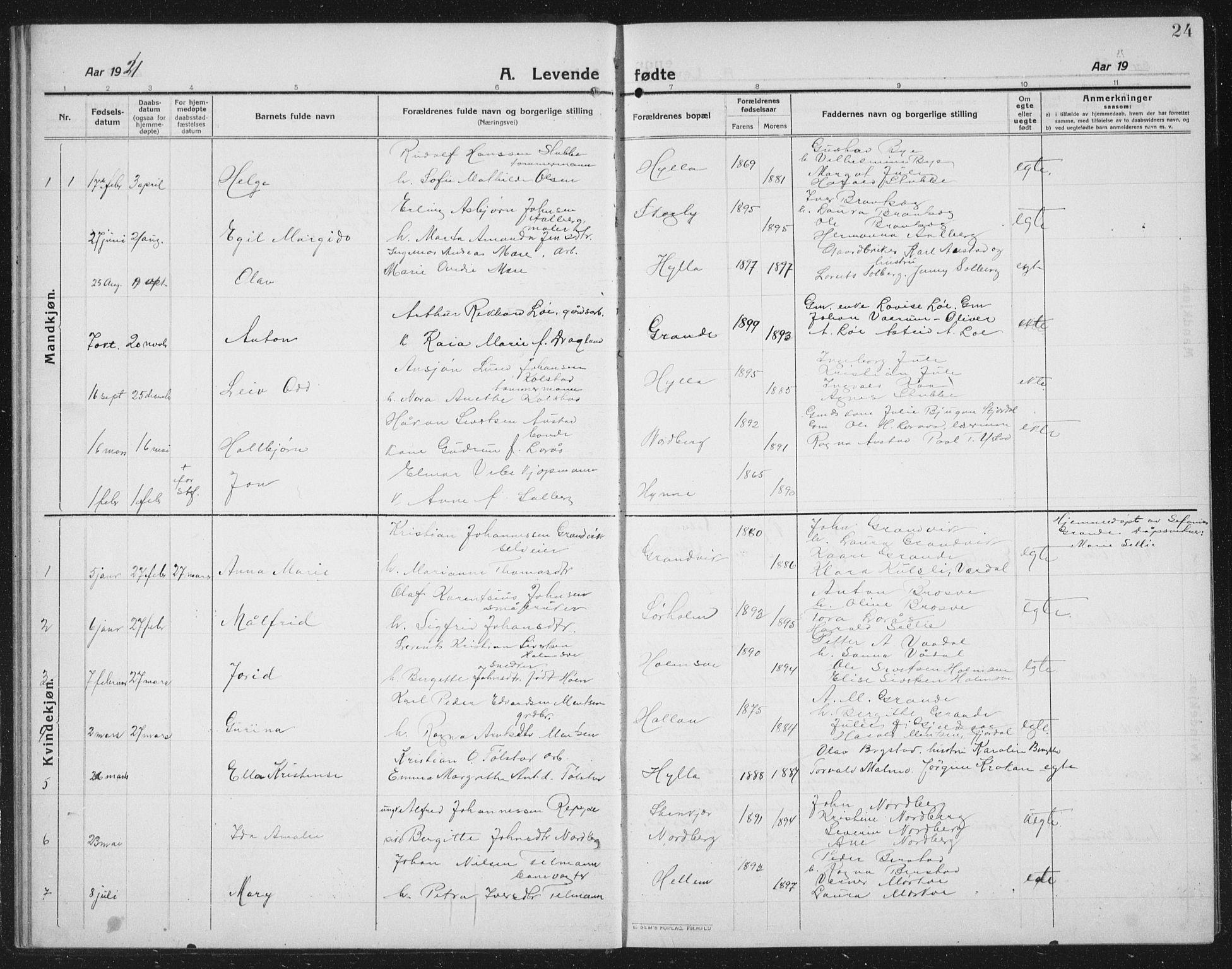 SAT, Ministerialprotokoller, klokkerbøker og fødselsregistre - Nord-Trøndelag, 731/L0312: Klokkerbok nr. 731C03, 1911-1935, s. 24