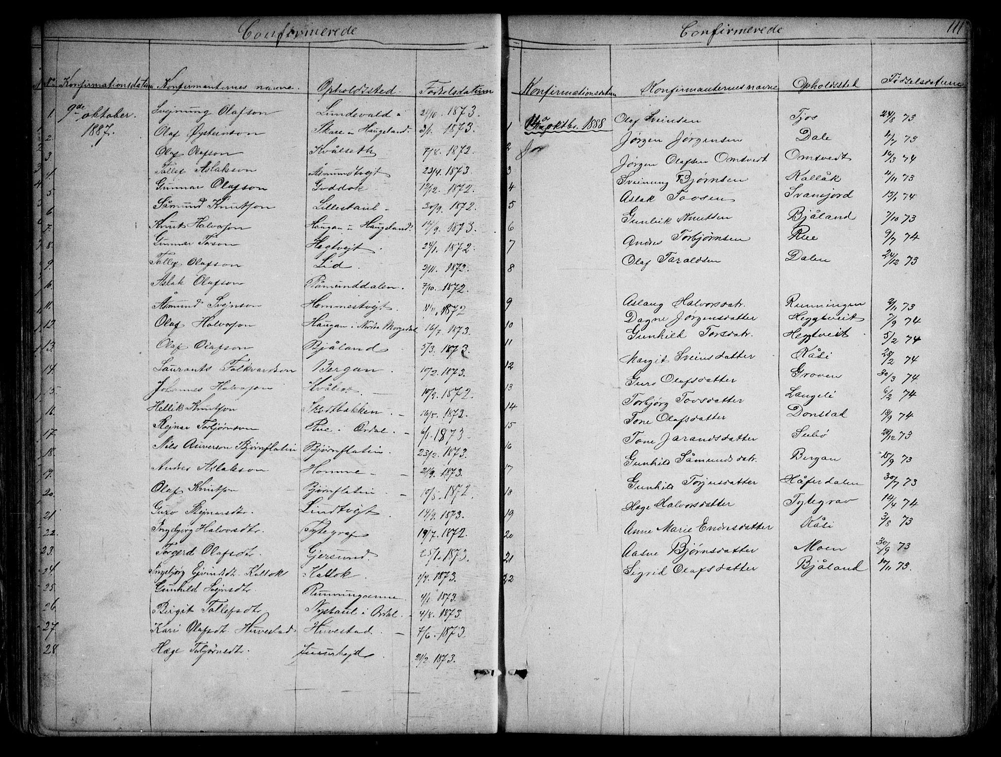SAKO, Kviteseid kirkebøker, G/Gb/L0002: Klokkerbok nr. II 2, 1850-1892, s. 111