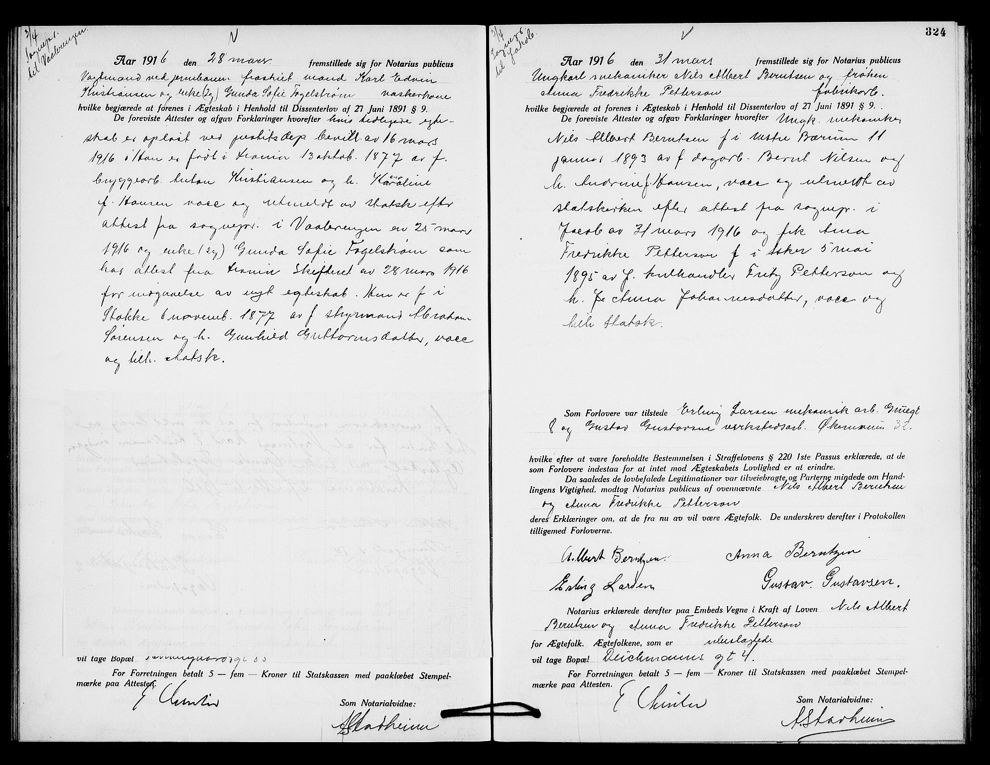 SAO, Oslo byfogd avd. I, L/Lb/Lbb/L0010: Notarialprotokoll, rekke II: Vigsler, 1914-1916, s. 423b-424a