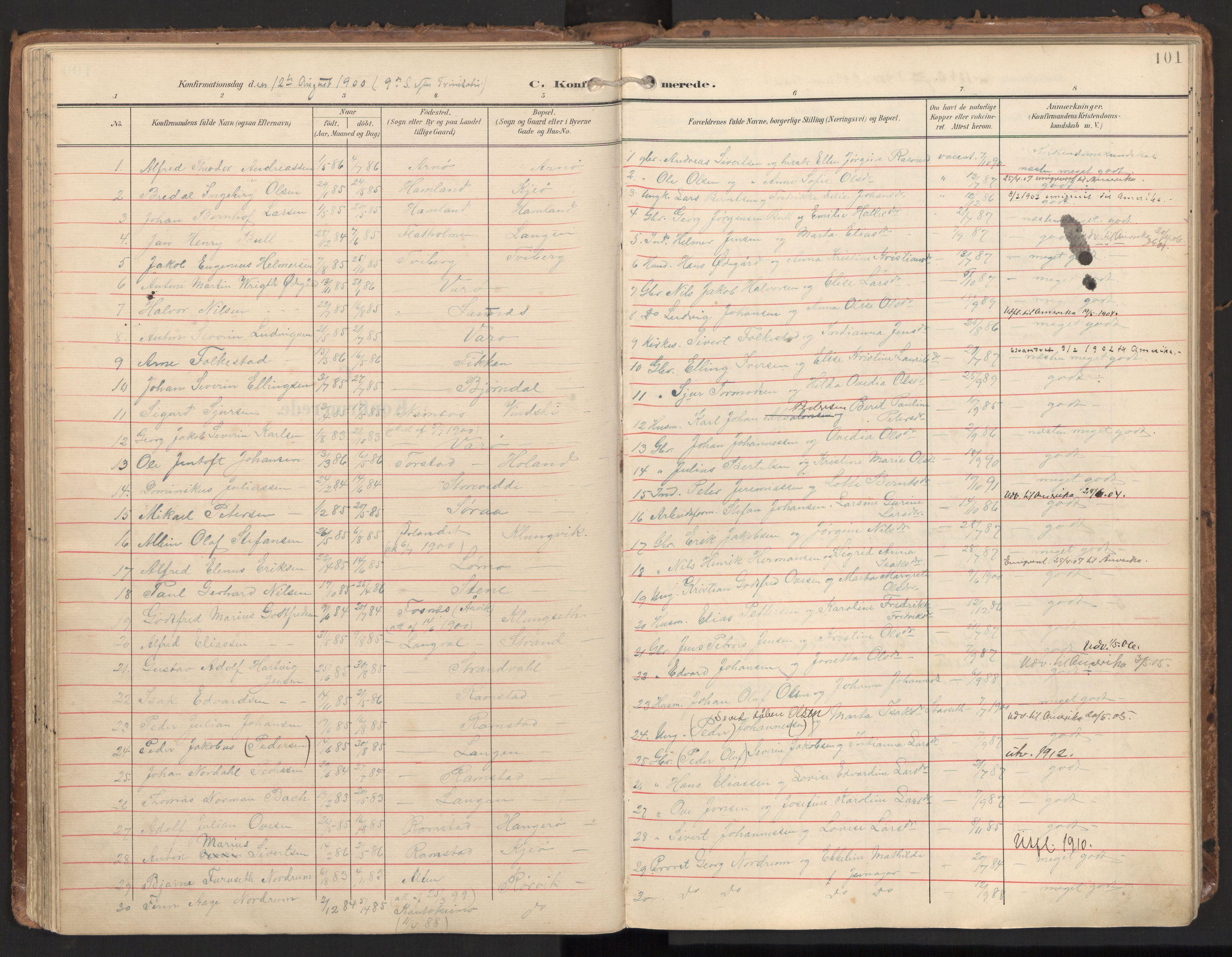SAT, Ministerialprotokoller, klokkerbøker og fødselsregistre - Nord-Trøndelag, 784/L0677: Ministerialbok nr. 784A12, 1900-1920, s. 101