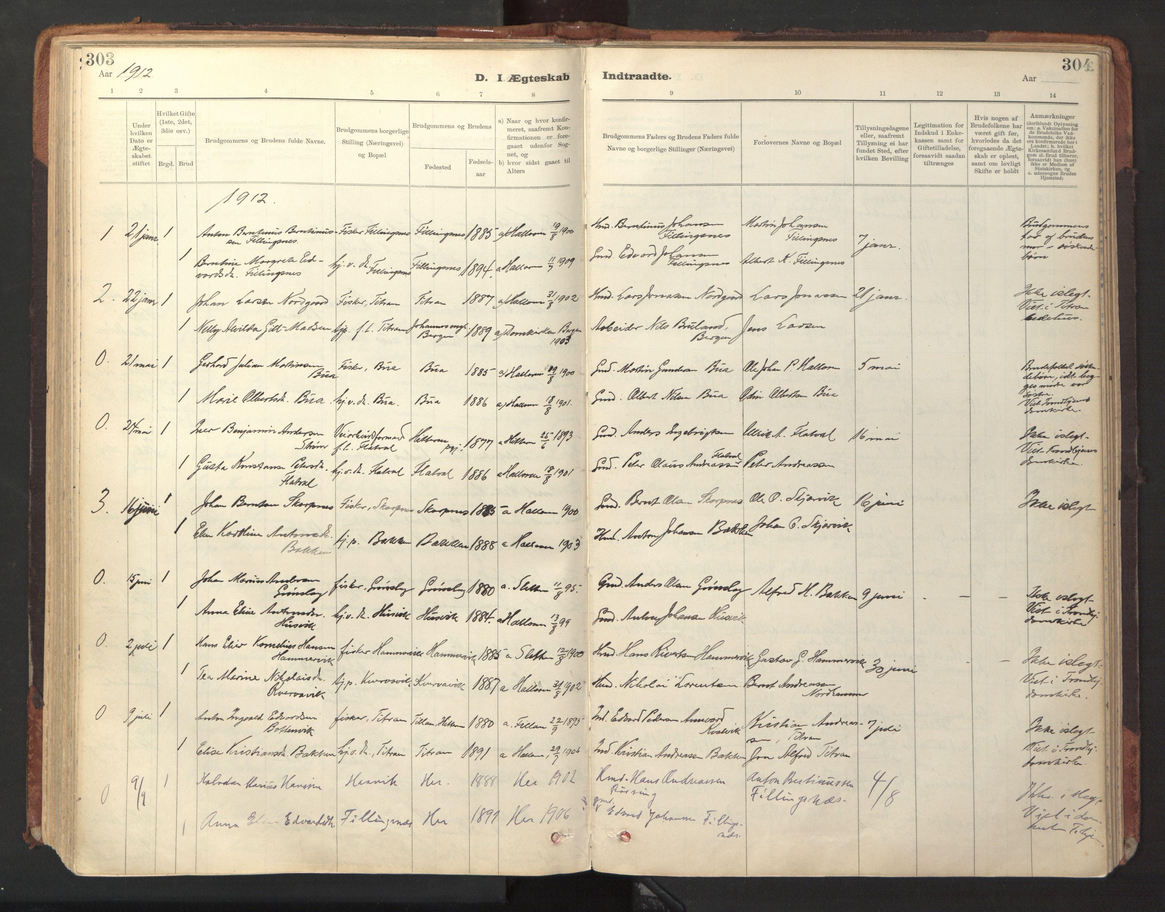 SAT, Ministerialprotokoller, klokkerbøker og fødselsregistre - Sør-Trøndelag, 641/L0596: Ministerialbok nr. 641A02, 1898-1915, s. 303-304