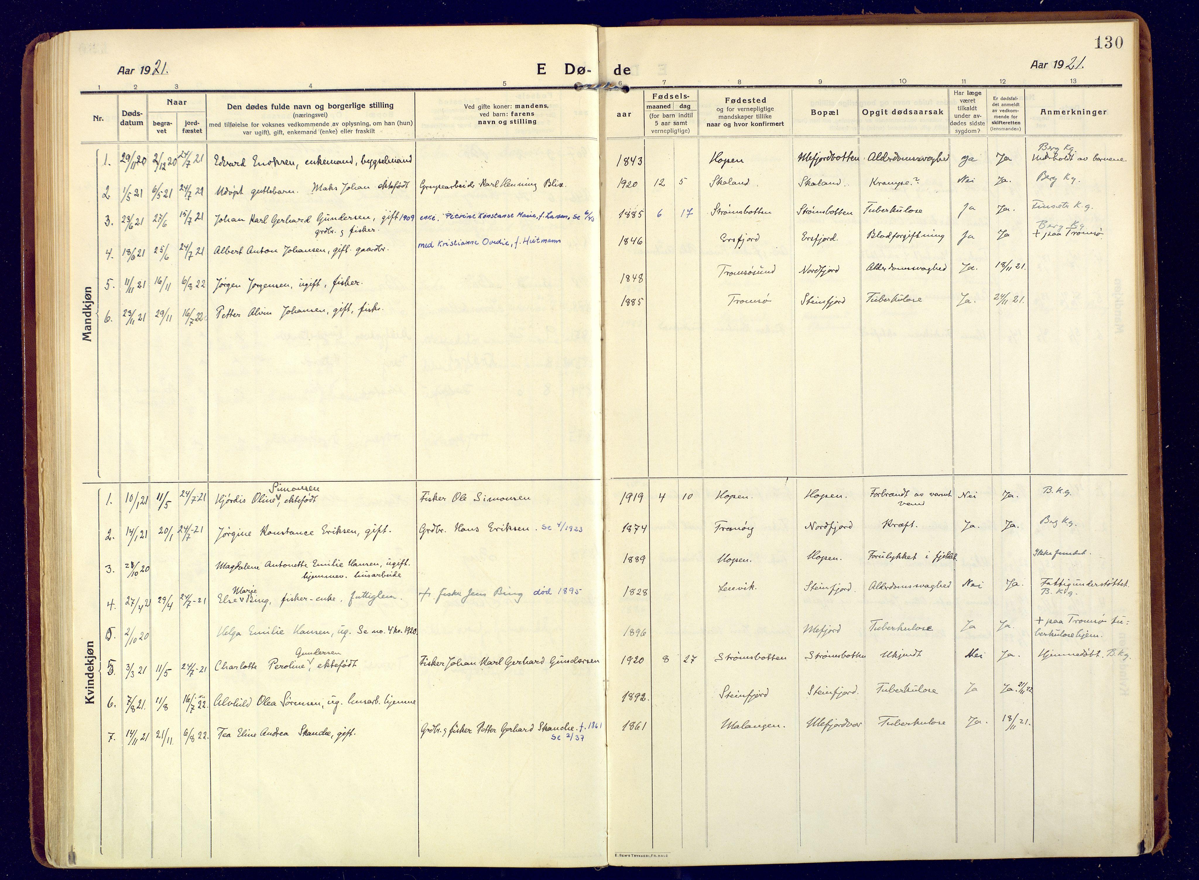 SATØ, Mefjord/Berg sokneprestkontor, G/Ga/Gaa: Ministerialbok nr. 9, 1916-1928, s. 130