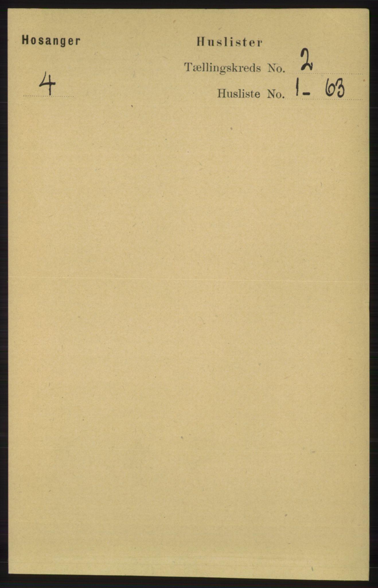 RA, Folketelling 1891 for 1253 Hosanger herred, 1891, s. 511