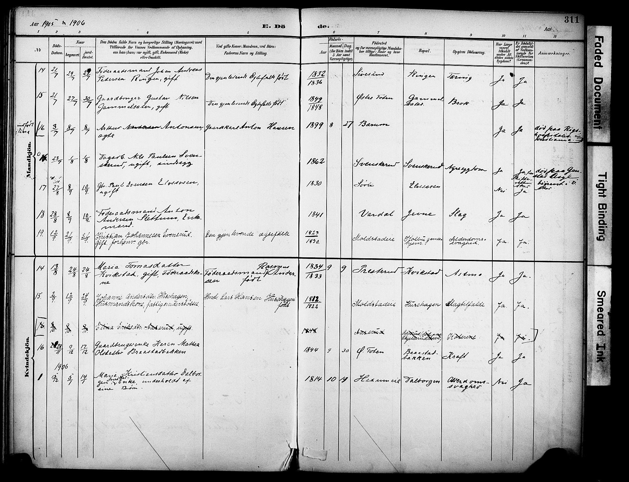 SAH, Vestre Toten prestekontor, H/Ha/Haa/L0013: Ministerialbok nr. 13, 1895-1911, s. 311