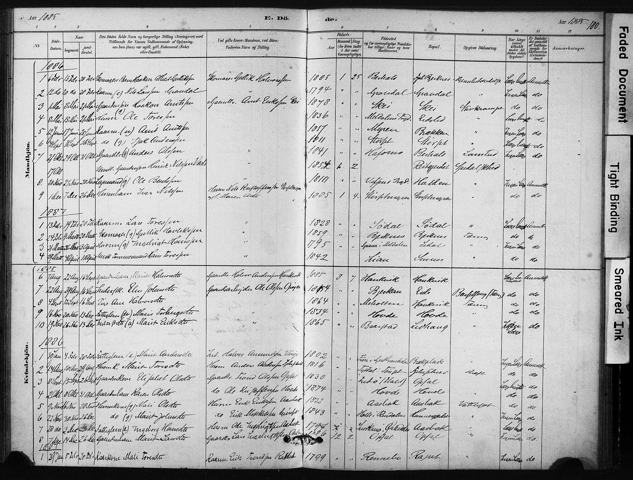SAT, Ministerialprotokoller, klokkerbøker og fødselsregistre - Sør-Trøndelag, 631/L0512: Ministerialbok nr. 631A01, 1879-1912, s. 180