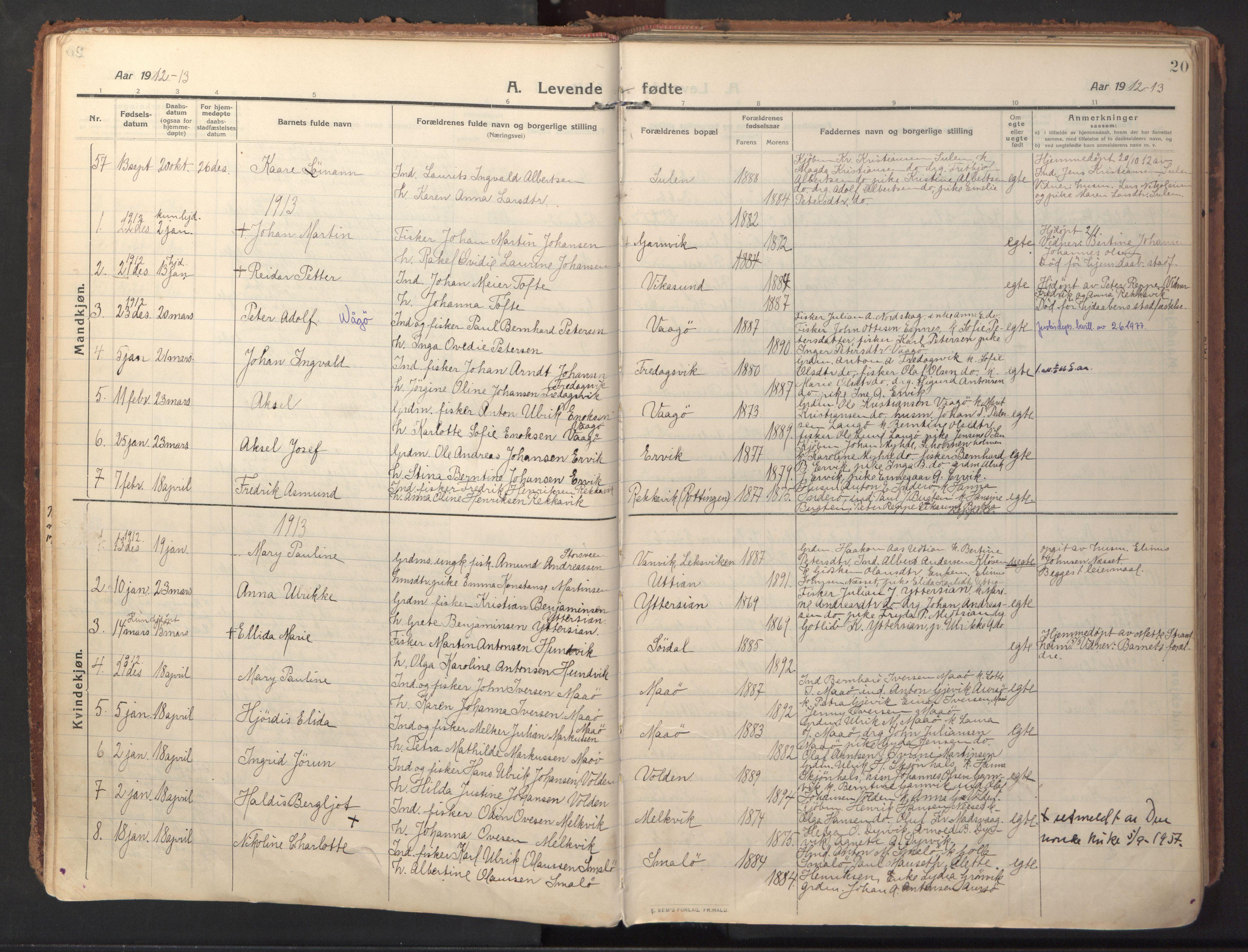 SAT, Ministerialprotokoller, klokkerbøker og fødselsregistre - Sør-Trøndelag, 640/L0581: Ministerialbok nr. 640A06, 1910-1924, s. 20