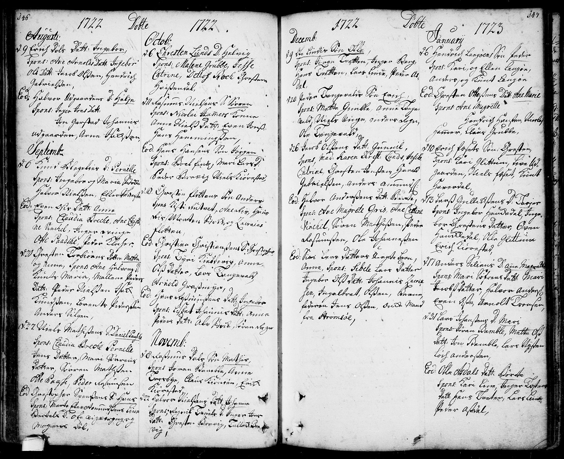 SAKO, Bamble kirkebøker, F/Fa/L0001: Ministerialbok nr. I 1, 1702-1774, s. 146-147