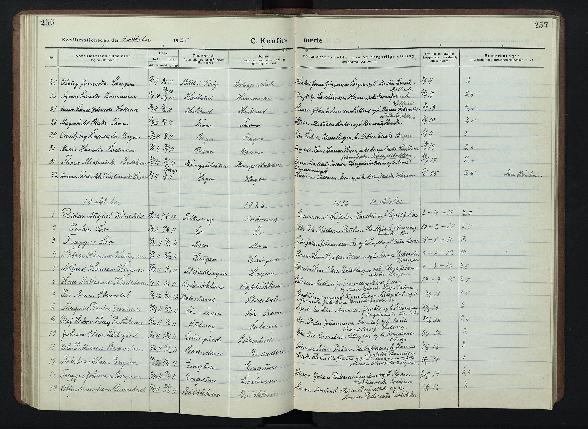 SAH, Nord-Fron prestekontor, Klokkerbok nr. 7, 1915-1946, s. 256-257