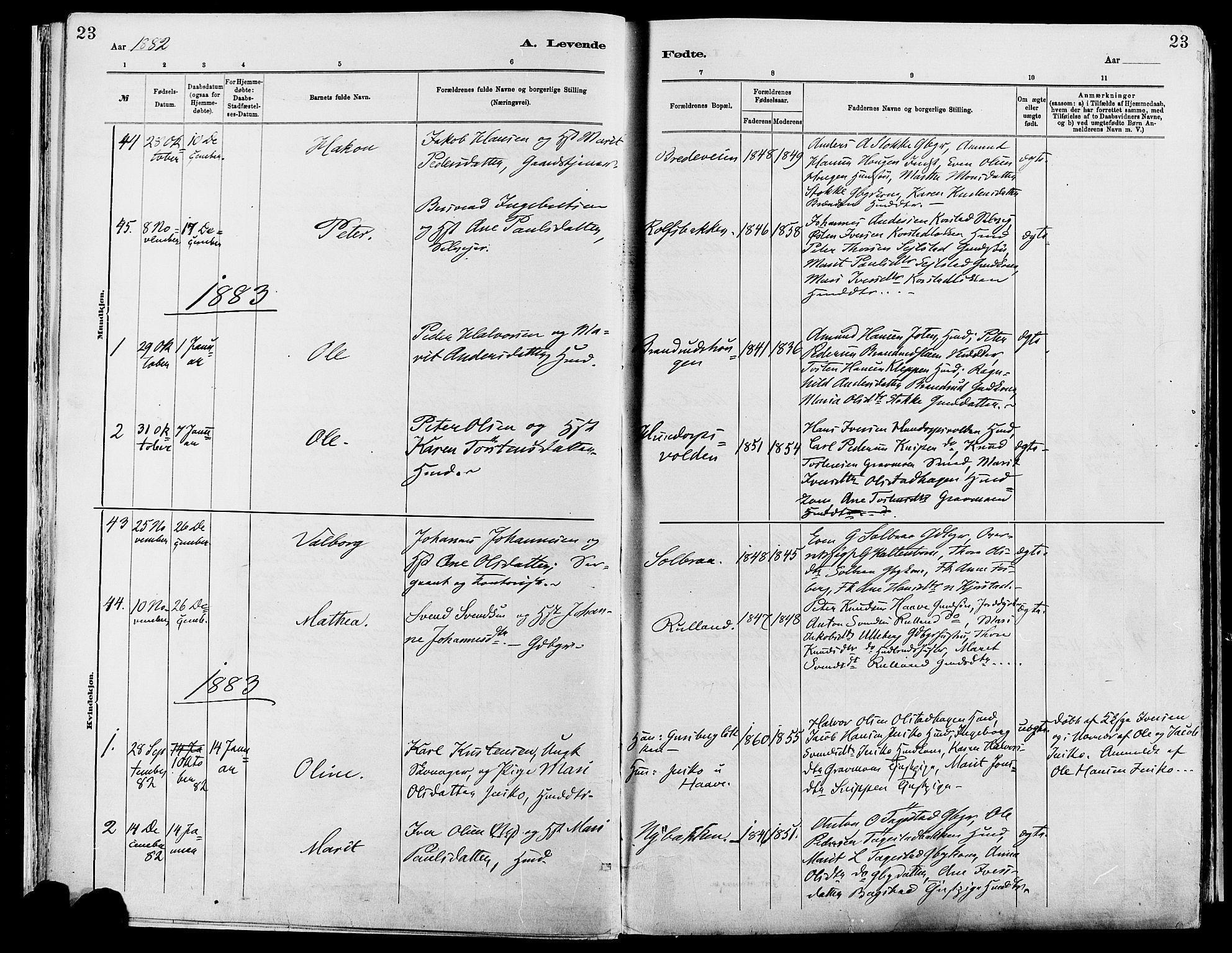 SAH, Sør-Fron prestekontor, H/Ha/Haa/L0003: Ministerialbok nr. 3, 1881-1897, s. 23