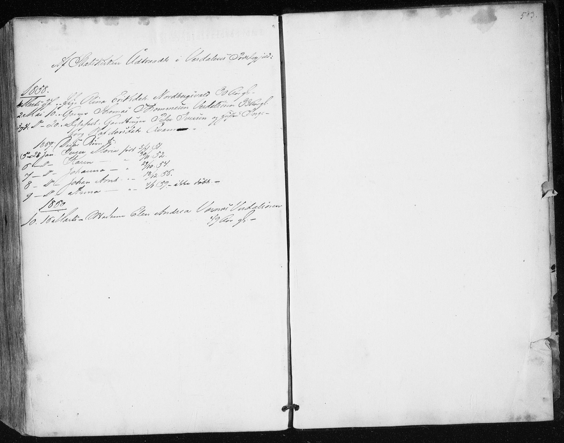 SAT, Ministerialprotokoller, klokkerbøker og fødselsregistre - Nord-Trøndelag, 723/L0240: Ministerialbok nr. 723A09, 1852-1860, s. 503