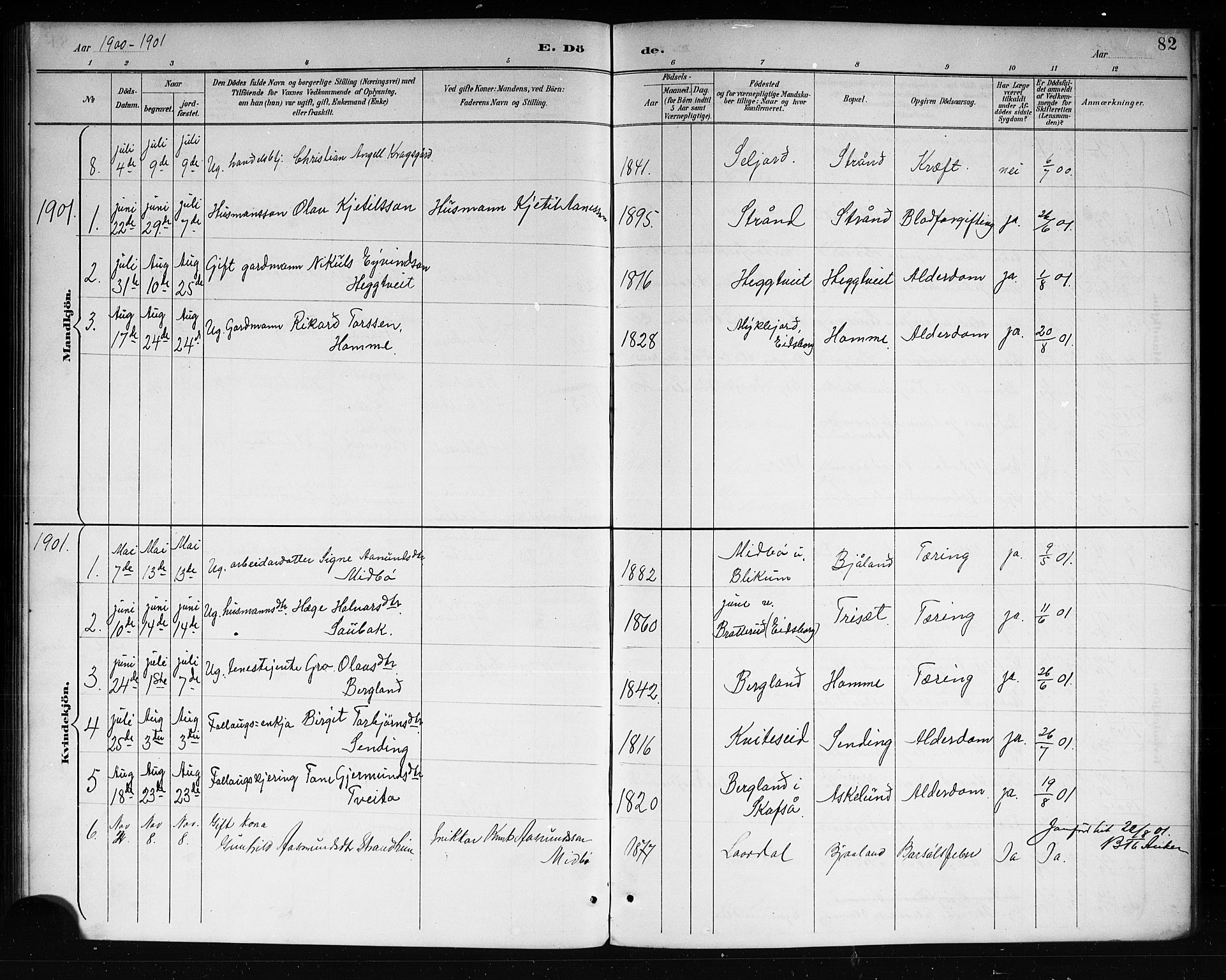 SAKO, Lårdal kirkebøker, G/Ga/L0003: Klokkerbok nr. I 3, 1891-1918, s. 82