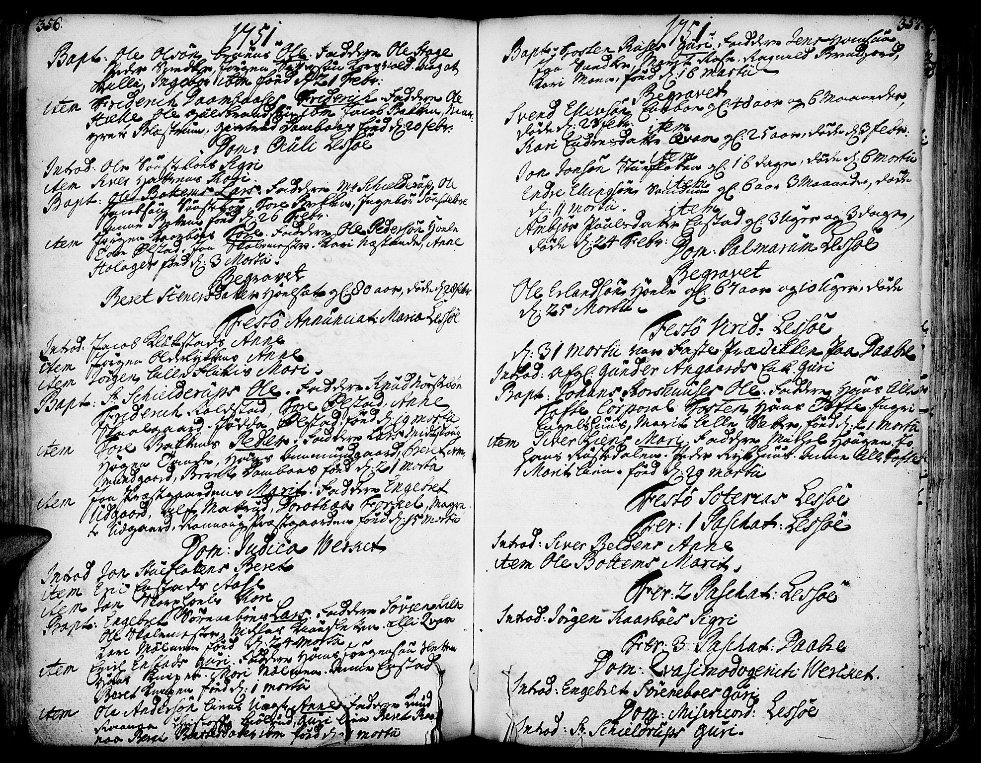 SAH, Lesja prestekontor, Ministerialbok nr. 2, 1732-1776, s. 356-357