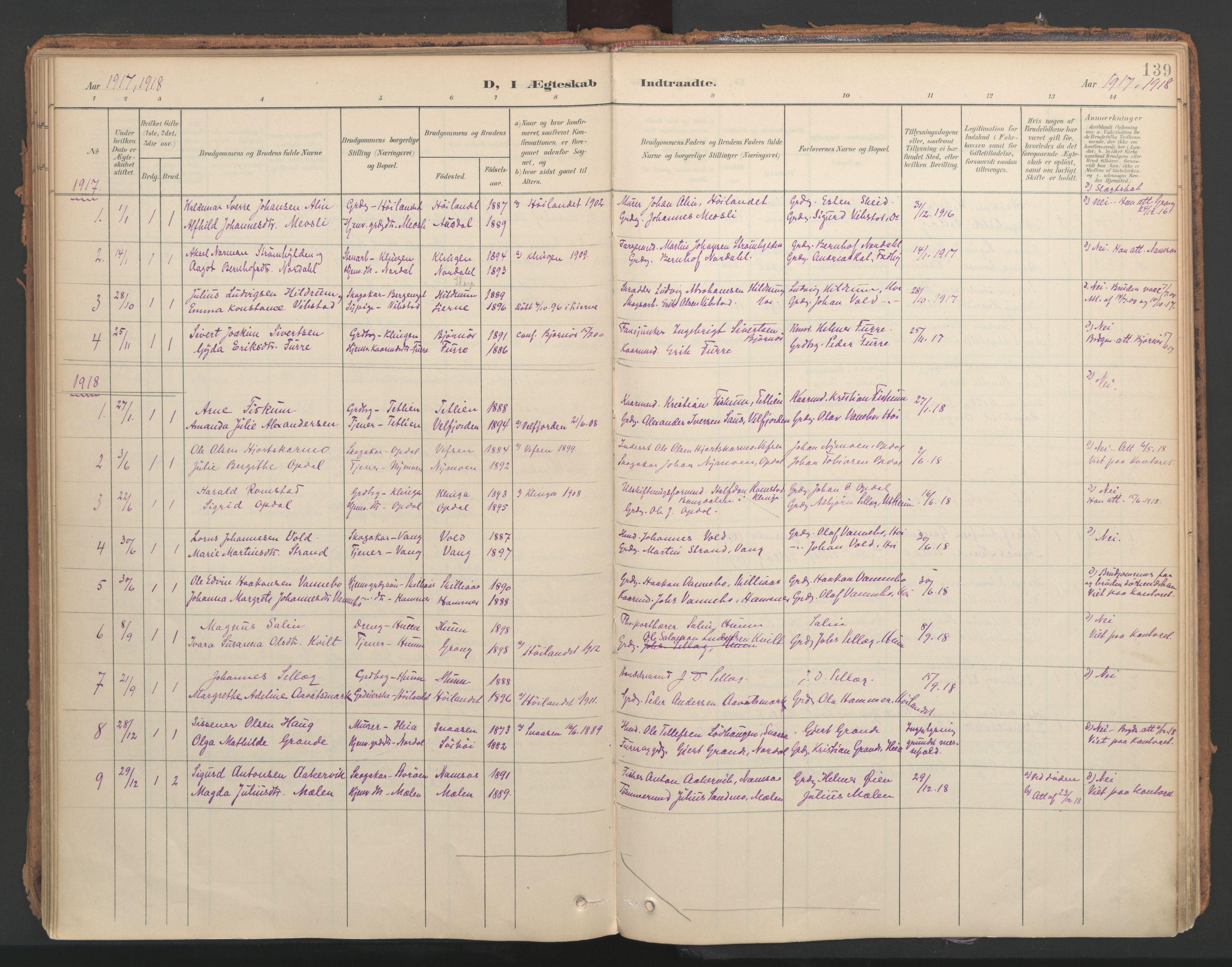 SAT, Ministerialprotokoller, klokkerbøker og fødselsregistre - Nord-Trøndelag, 766/L0564: Ministerialbok nr. 767A02, 1900-1932, s. 139
