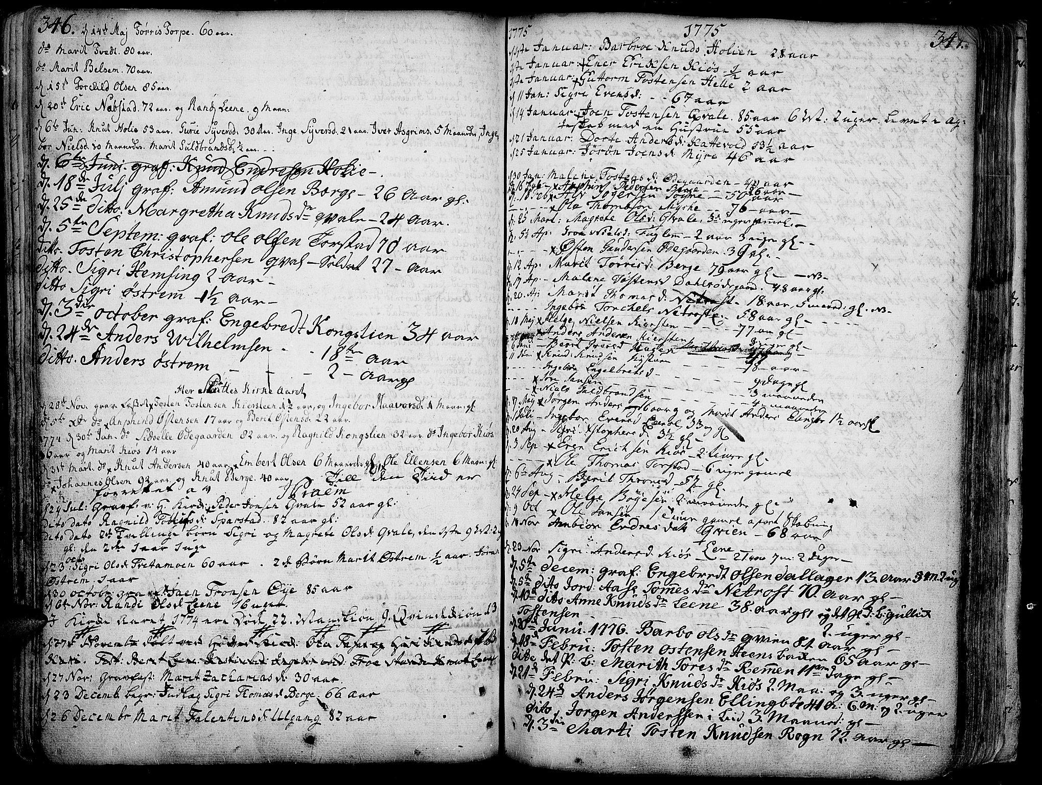 SAH, Vang prestekontor, Valdres, Ministerialbok nr. 1, 1730-1796, s. 346-347