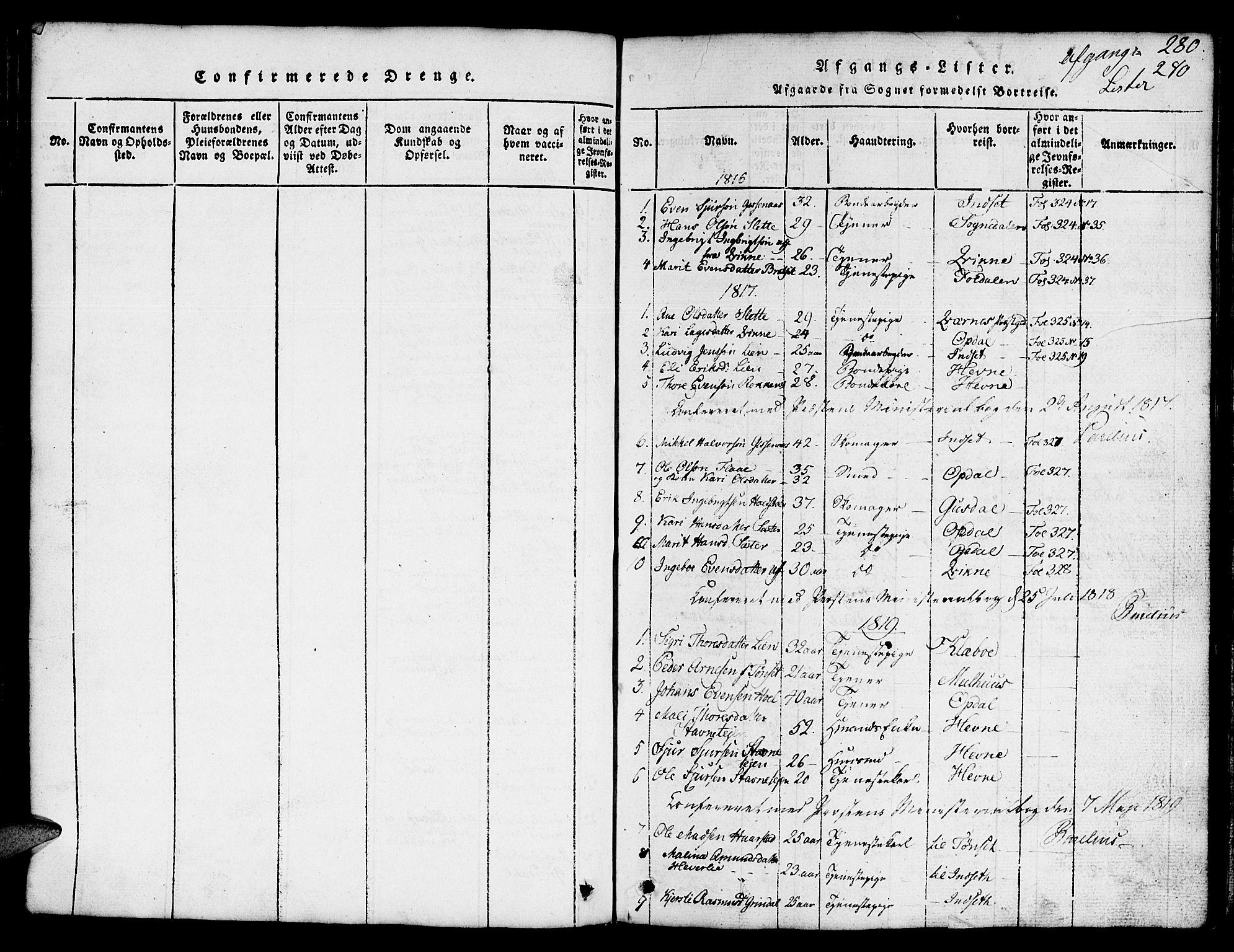 SAT, Ministerialprotokoller, klokkerbøker og fødselsregistre - Sør-Trøndelag, 674/L0874: Klokkerbok nr. 674C01, 1816-1860, s. 280