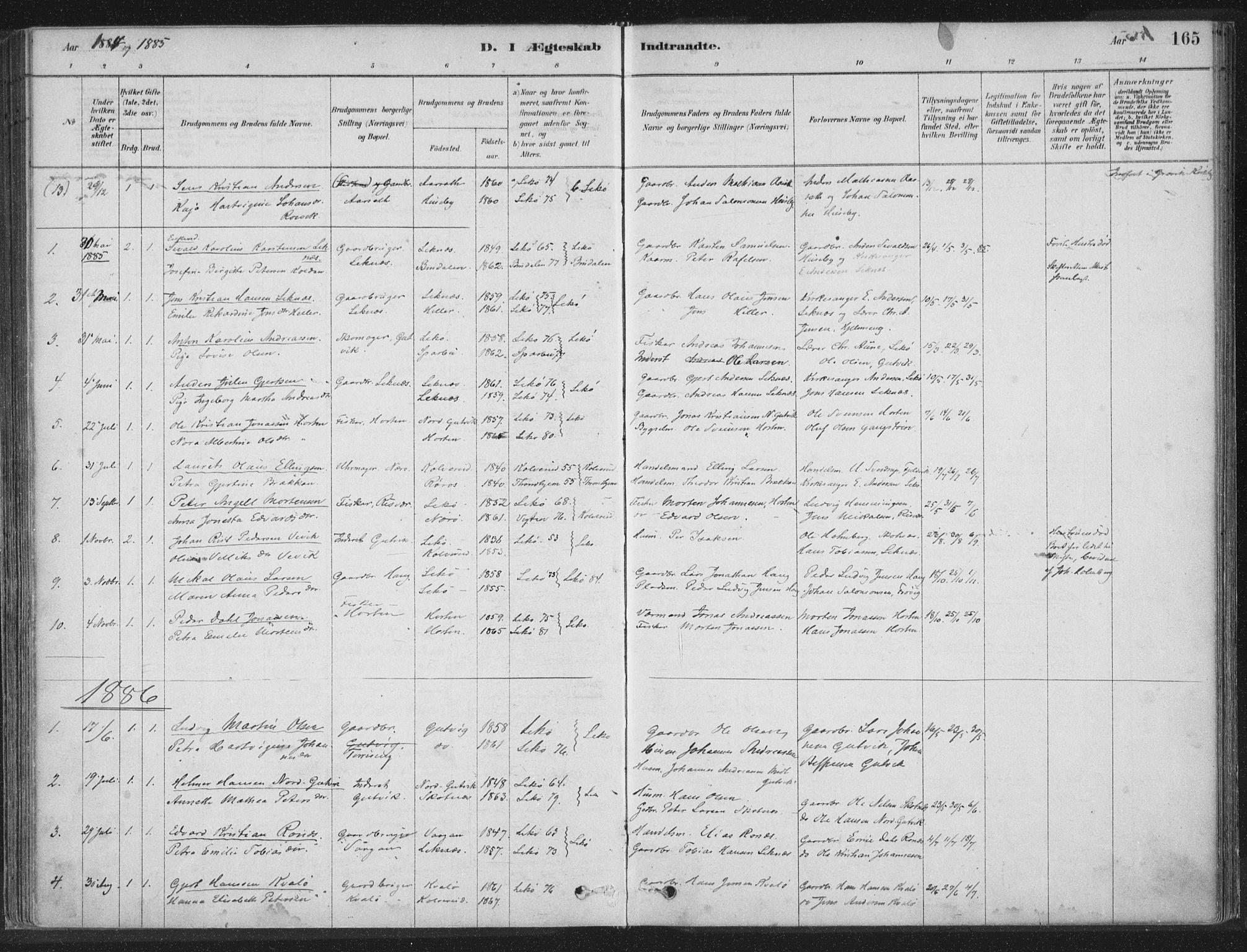 SAT, Ministerialprotokoller, klokkerbøker og fødselsregistre - Nord-Trøndelag, 788/L0697: Ministerialbok nr. 788A04, 1878-1902, s. 165