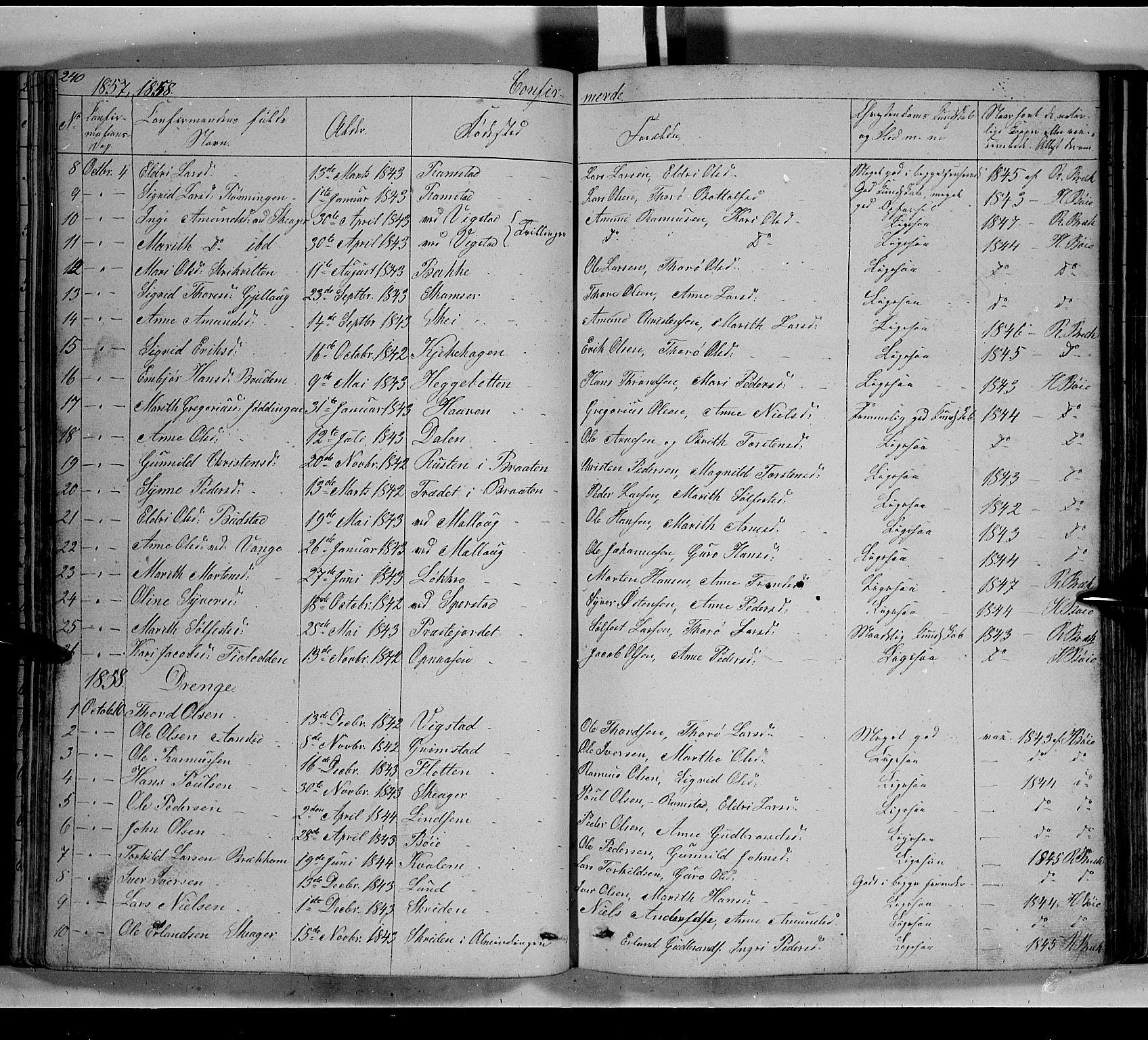 SAH, Lom prestekontor, L/L0004: Klokkerbok nr. 4, 1845-1864, s. 240-241