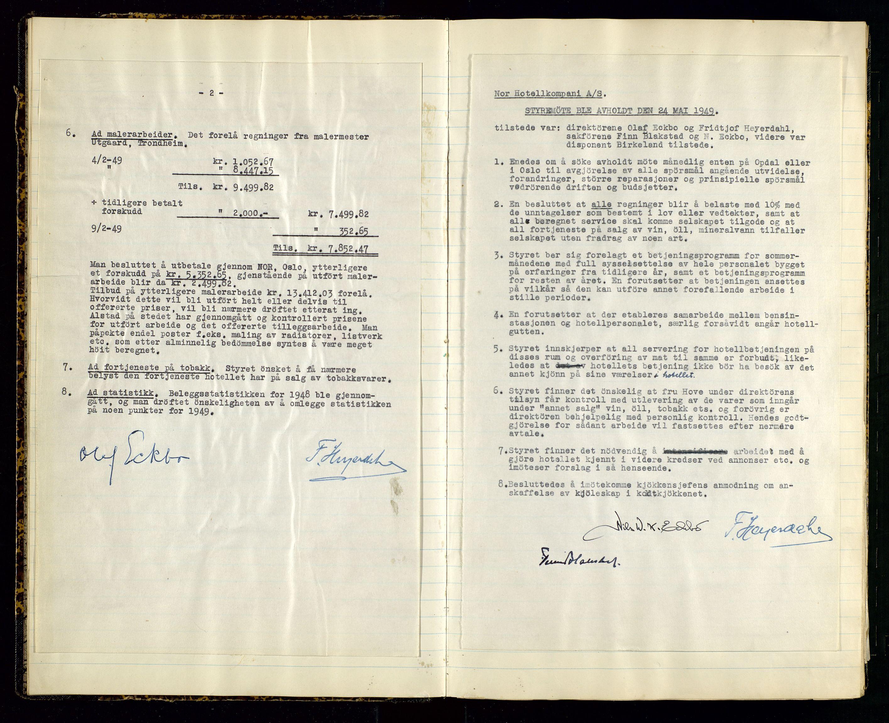 SAST, PA 1516 - Nor Hotellkompani A/S, A/L0001: Referatprotokoll, 1948-1855, s. 6