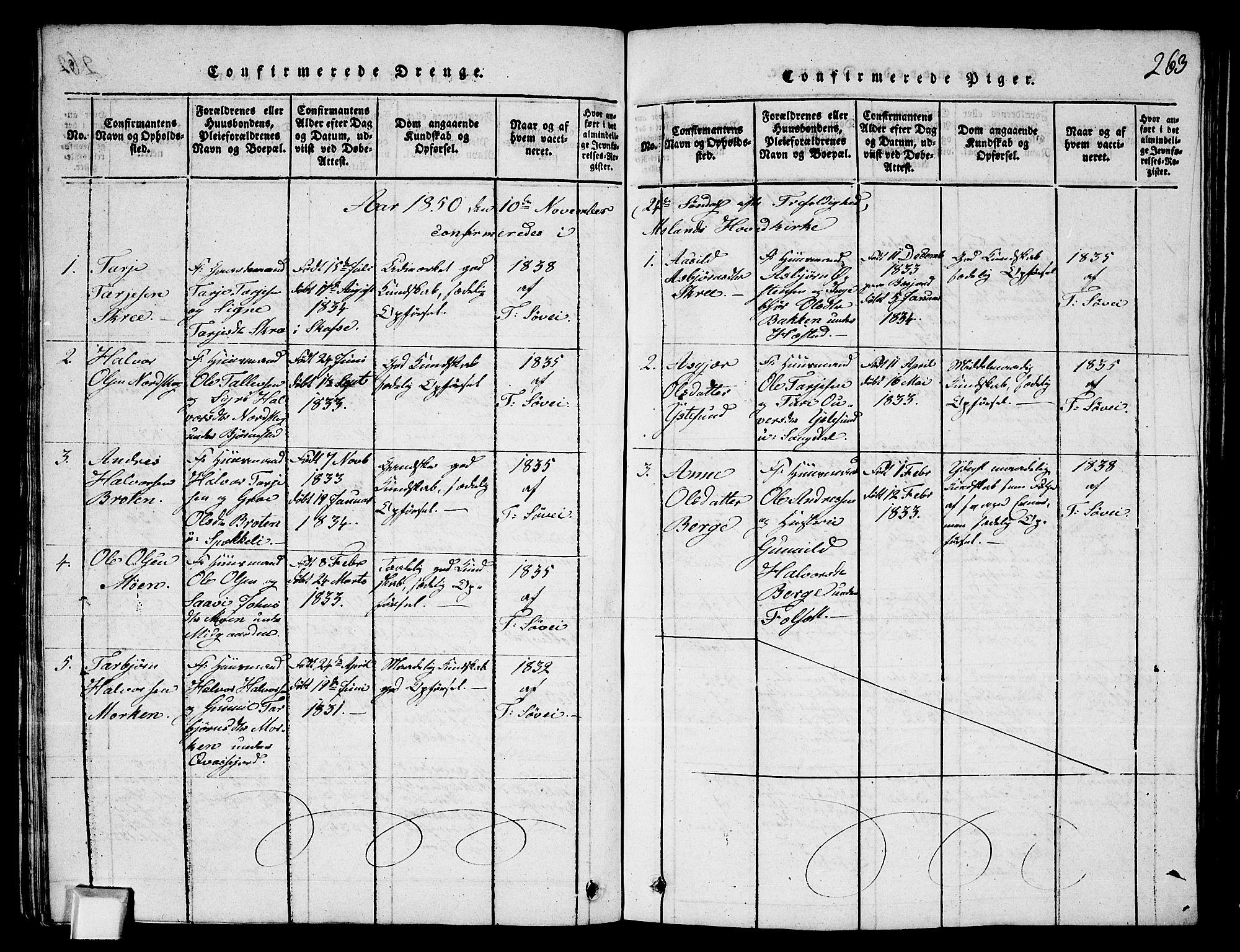 SAKO, Fyresdal kirkebøker, G/Ga/L0003: Klokkerbok nr. I 3, 1815-1863, s. 263