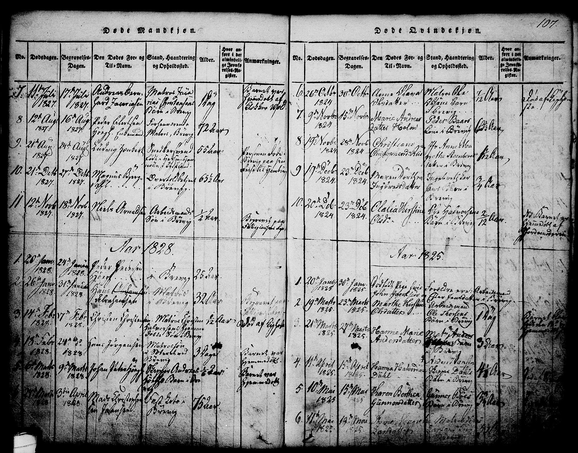 SAKO, Brevik kirkebøker, G/Ga/L0001: Klokkerbok nr. 1, 1814-1845, s. 107