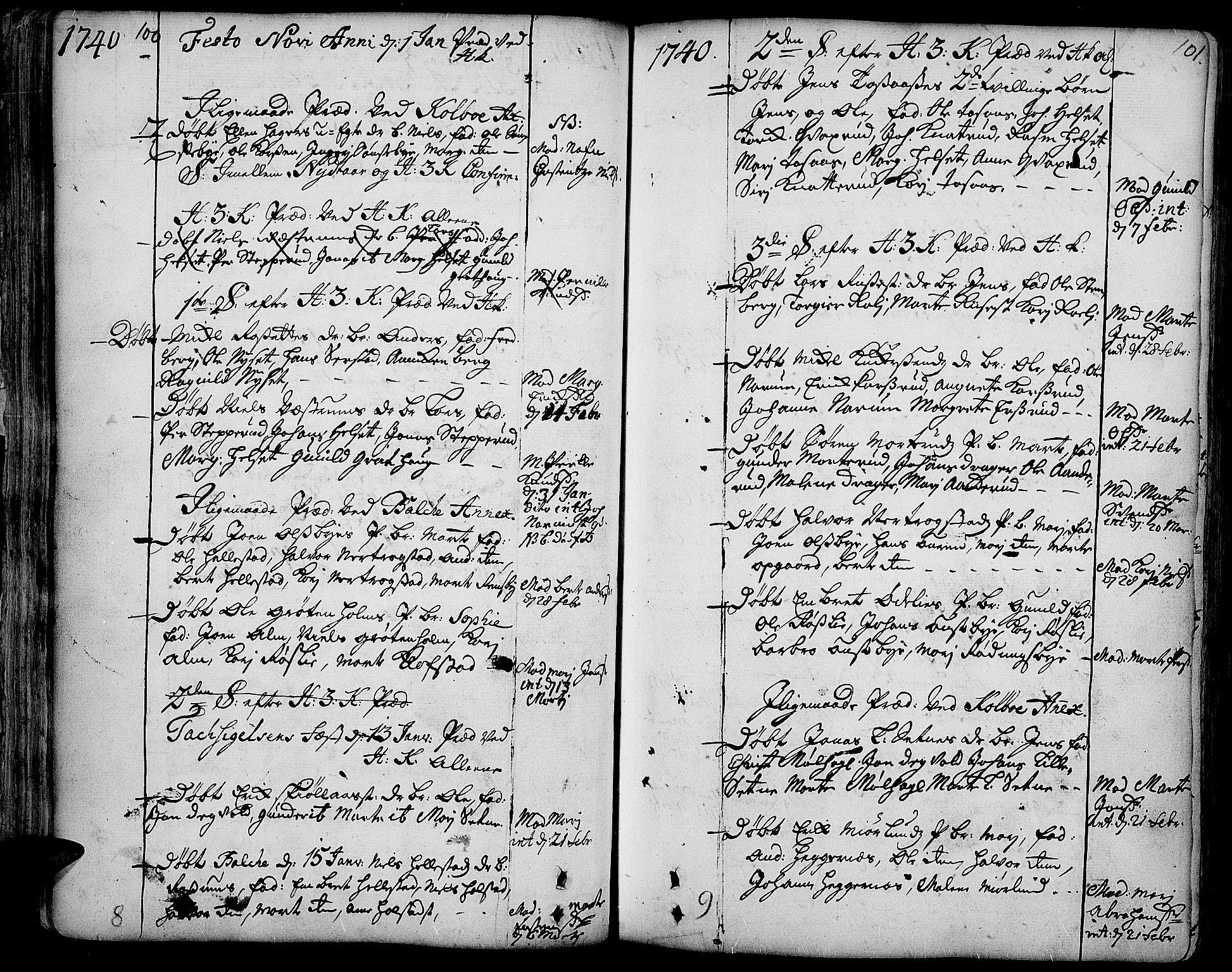 SAH, Toten prestekontor, Ministerialbok nr. 3, 1734-1751, s. 100-101