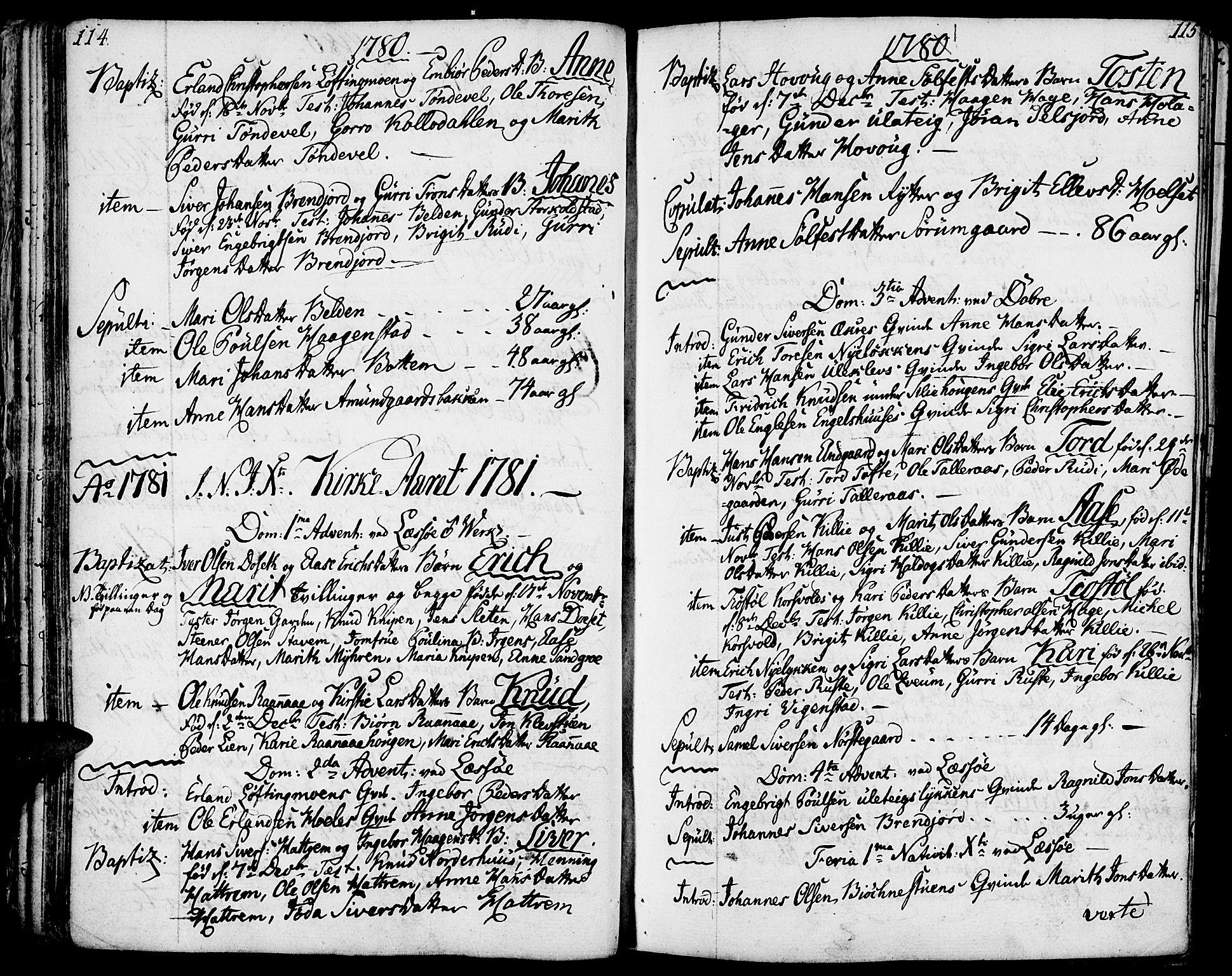 SAH, Lesja prestekontor, Ministerialbok nr. 3, 1777-1819, s. 114-115