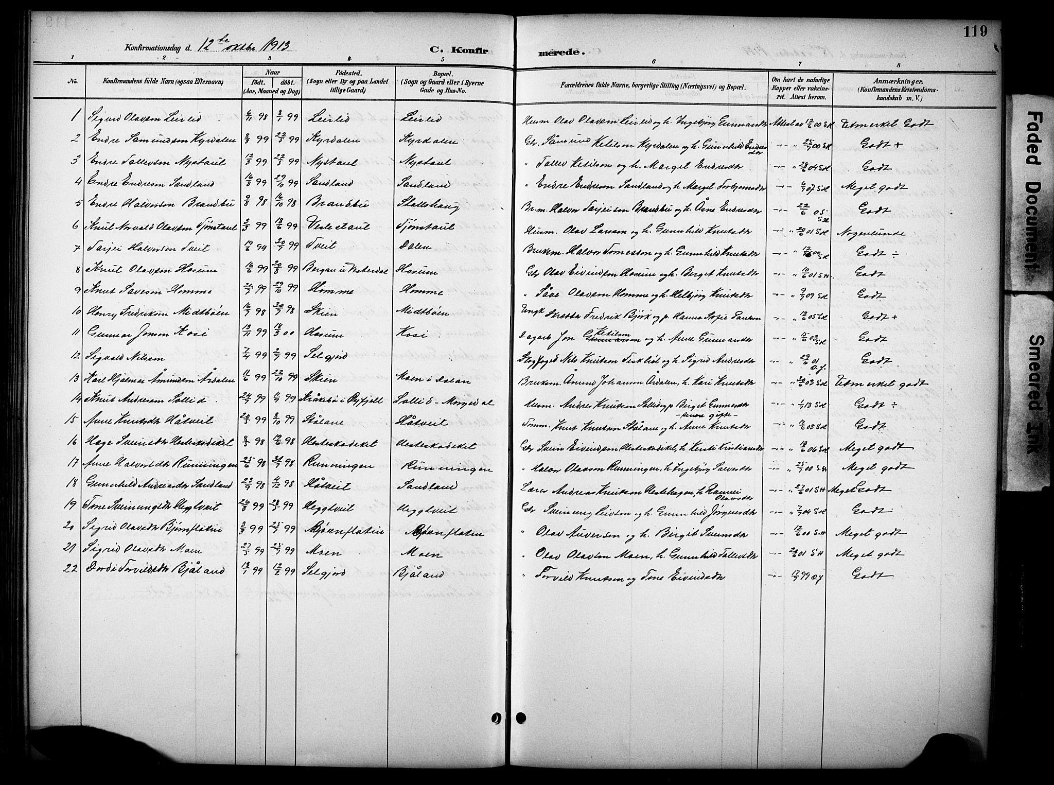 SAKO, Kviteseid kirkebøker, G/Gb/L0003: Klokkerbok nr. II 3, 1893-1933, s. 119