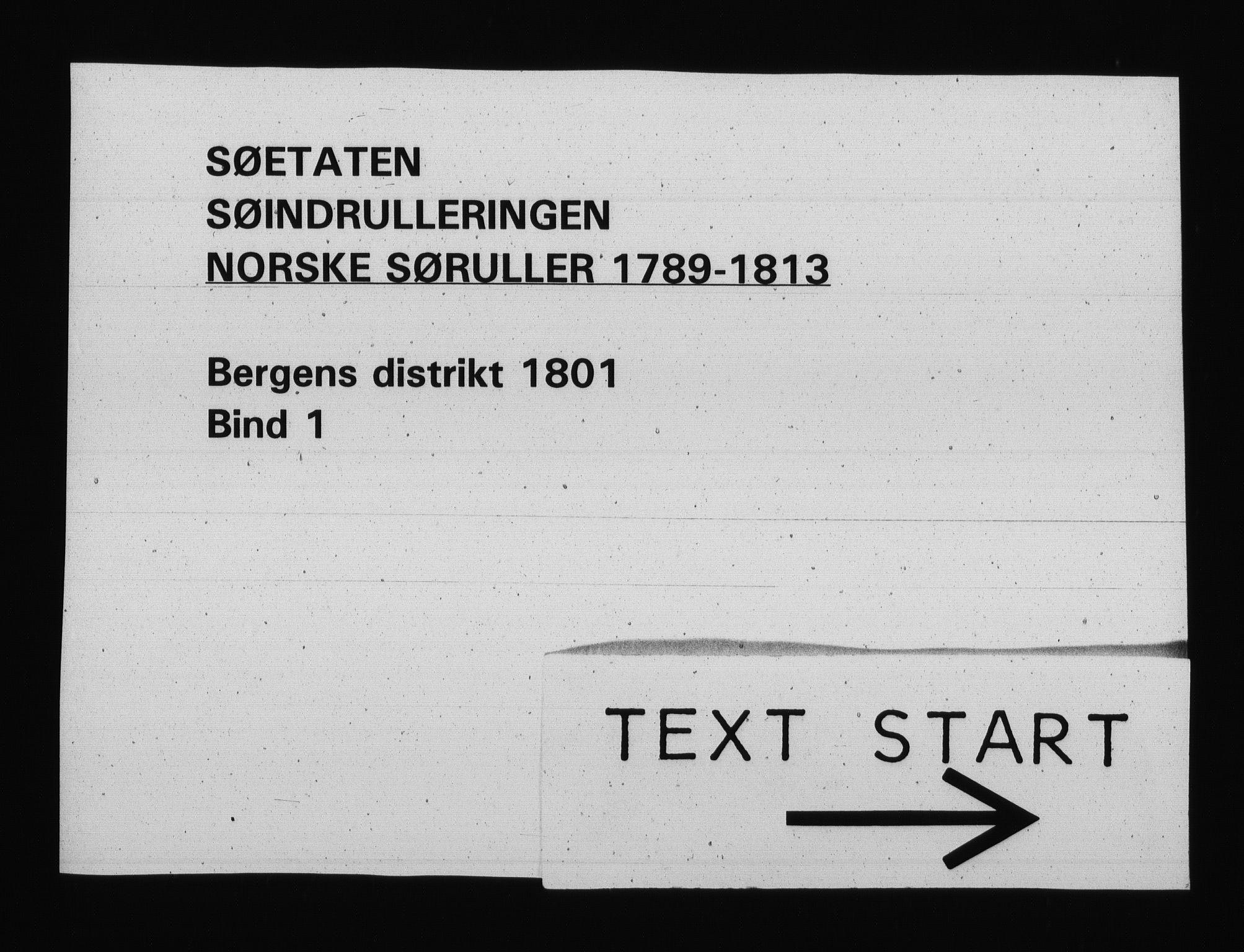 RA, Sjøetaten, F/L0233: Bergen distrikt, bind 1, 1801