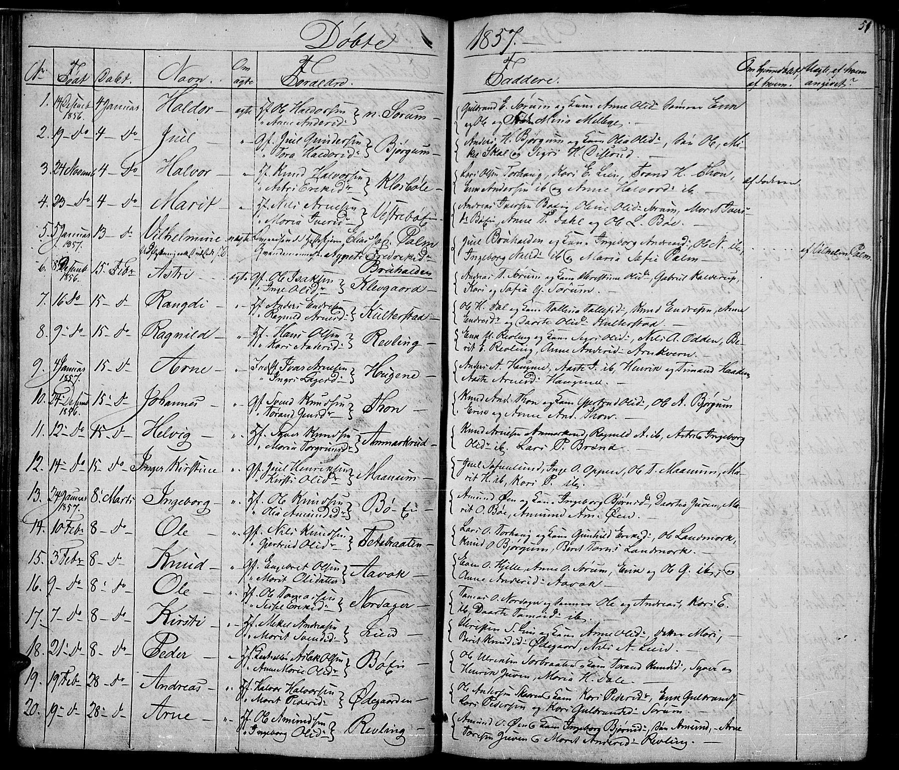 SAH, Nord-Aurdal prestekontor, Klokkerbok nr. 2, 1842-1877, s. 51
