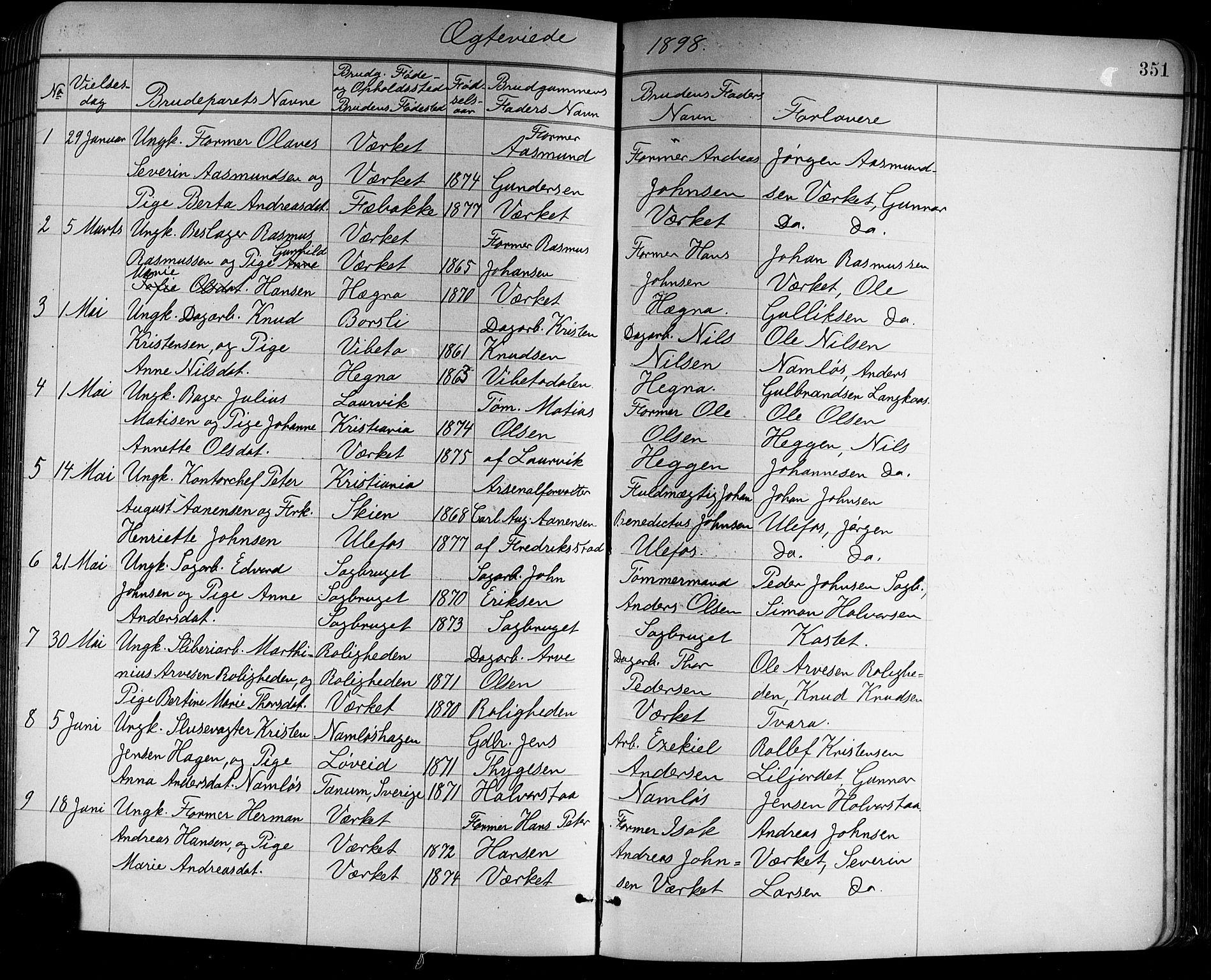 SAKO, Holla kirkebøker, G/Ga/L0005: Klokkerbok nr. I 5, 1891-1917, s. 351