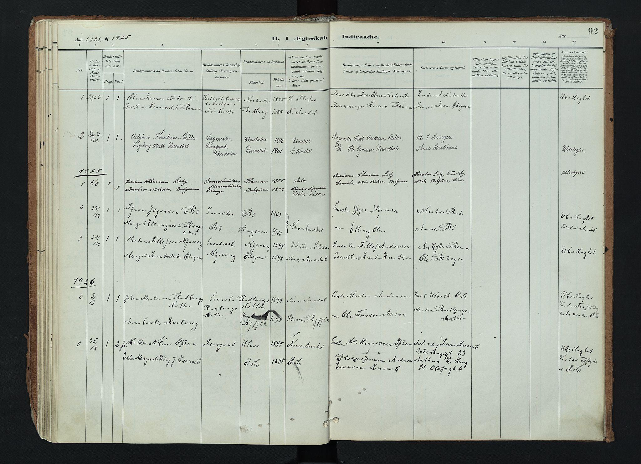 SAH, Nord-Aurdal prestekontor, Ministerialbok nr. 17, 1897-1926, s. 92