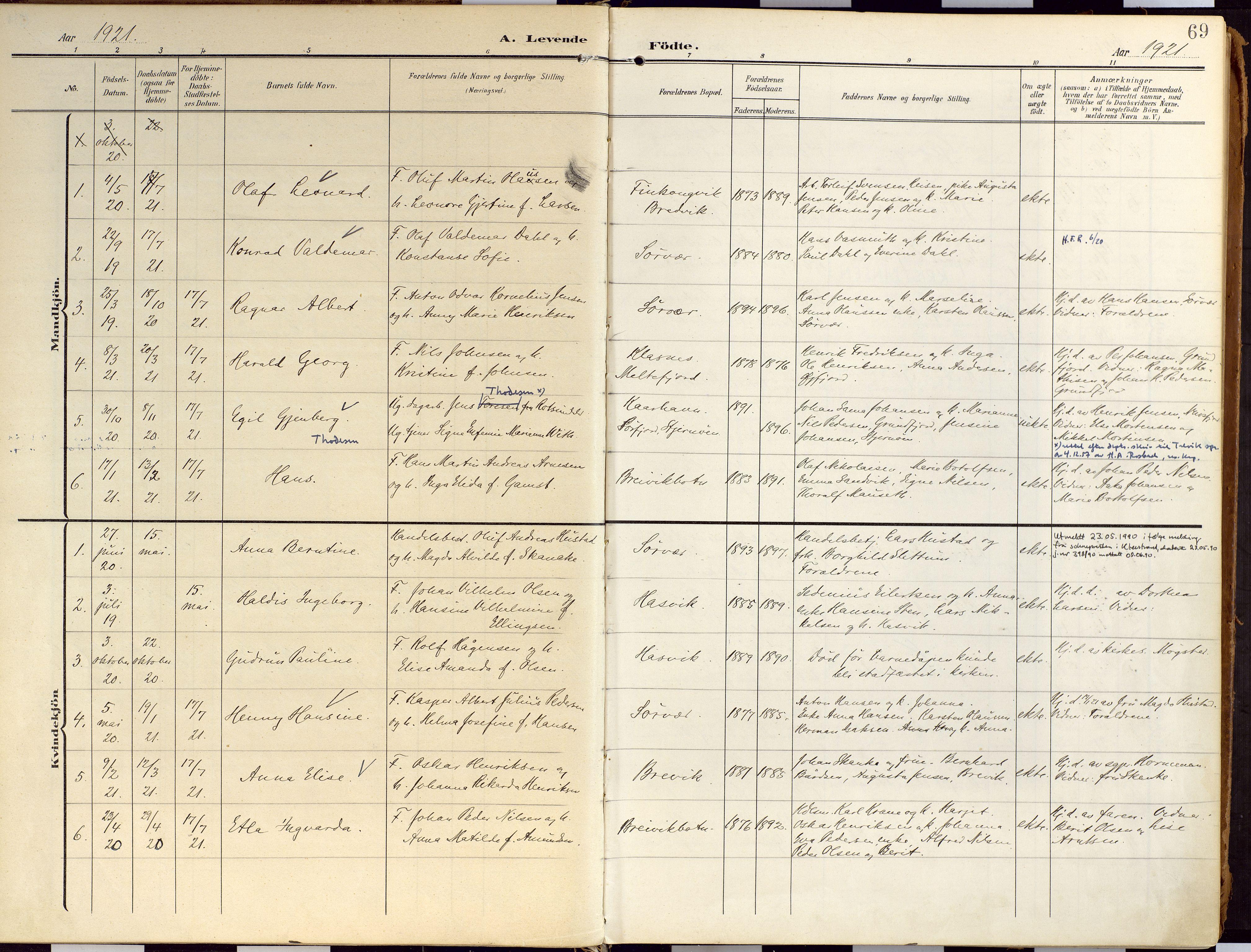 SATØ, Loppa sokneprestkontor, H/Ha/L0010kirke: Ministerialbok nr. 10, 1907-1922, s. 69
