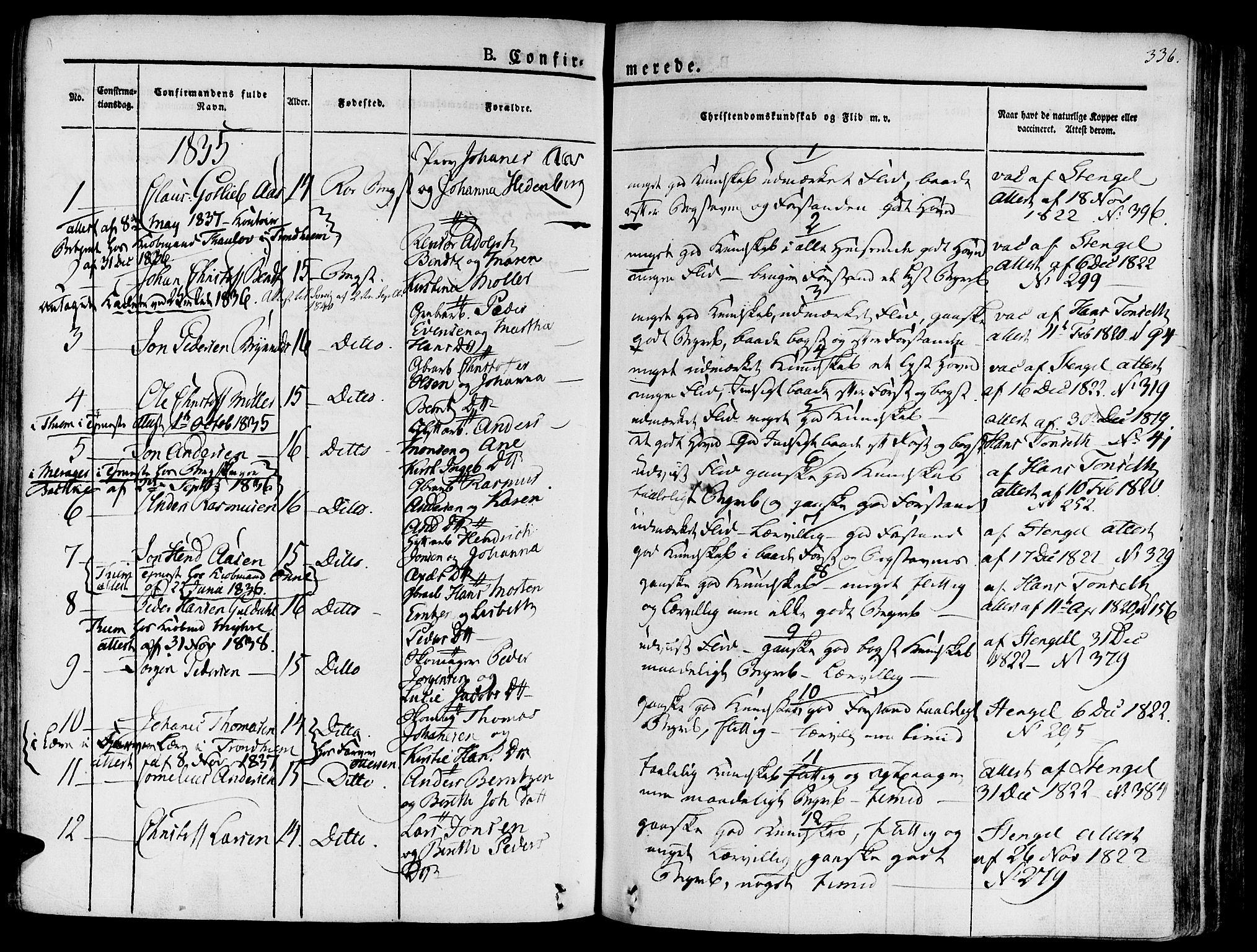 SAT, Ministerialprotokoller, klokkerbøker og fødselsregistre - Sør-Trøndelag, 681/L0930: Ministerialbok nr. 681A08, 1829-1844, s. 336