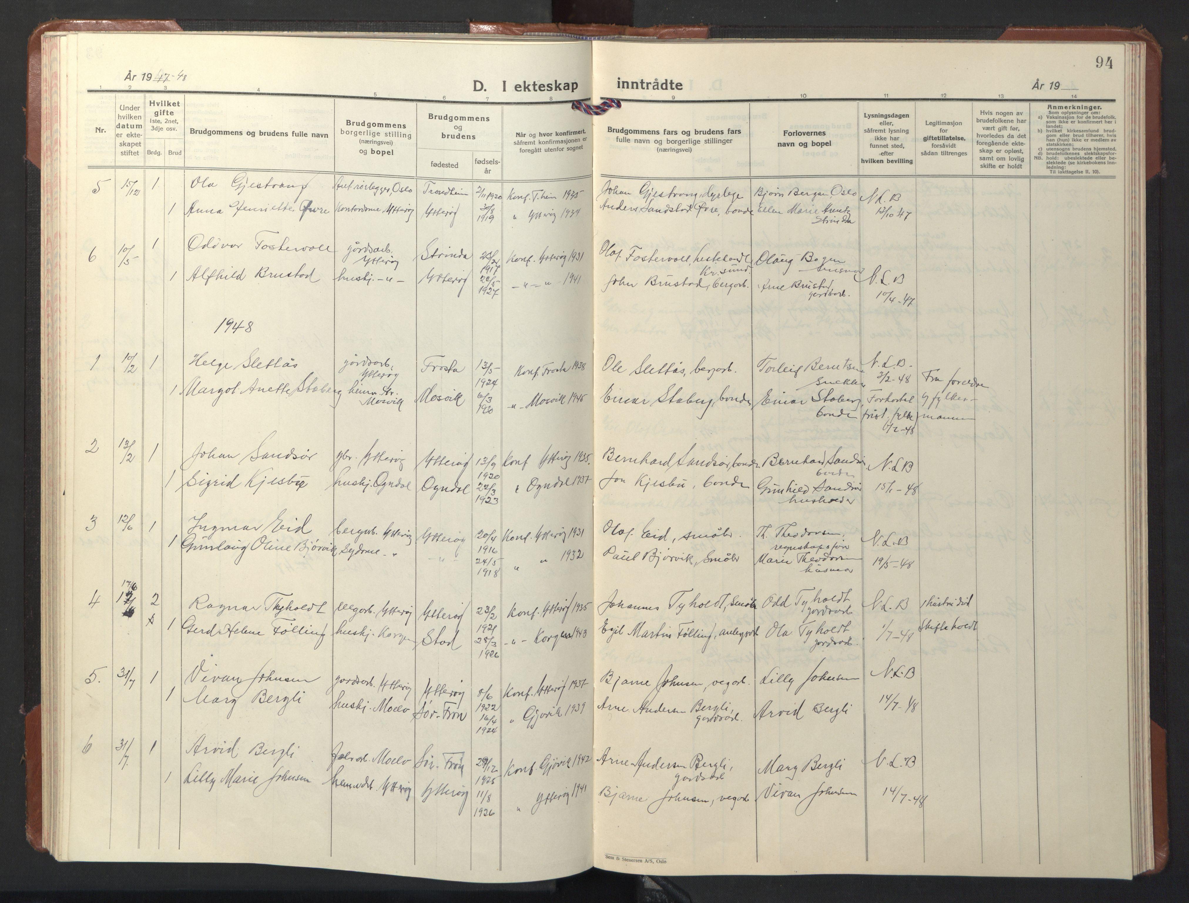 SAT, Ministerialprotokoller, klokkerbøker og fødselsregistre - Nord-Trøndelag, 722/L0227: Klokkerbok nr. 722C03, 1928-1958, s. 94