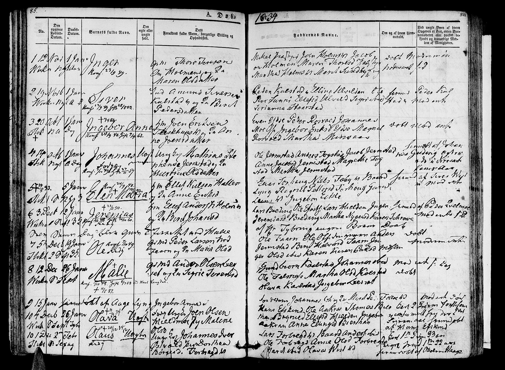 SAT, Ministerialprotokoller, klokkerbøker og fødselsregistre - Nord-Trøndelag, 723/L0238: Ministerialbok nr. 723A07, 1831-1840, s. 85-86
