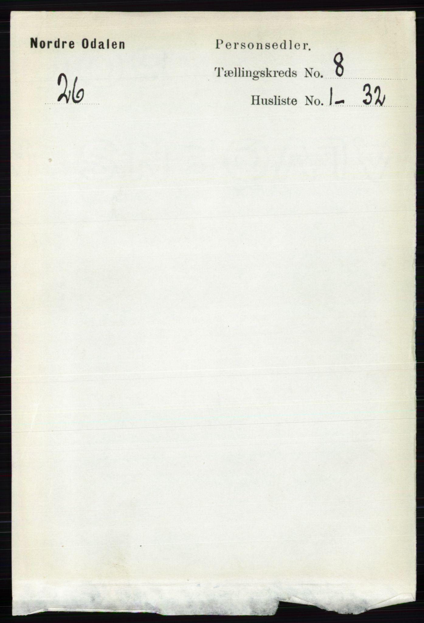 RA, Folketelling 1891 for 0418 Nord-Odal herred, 1891, s. 3293