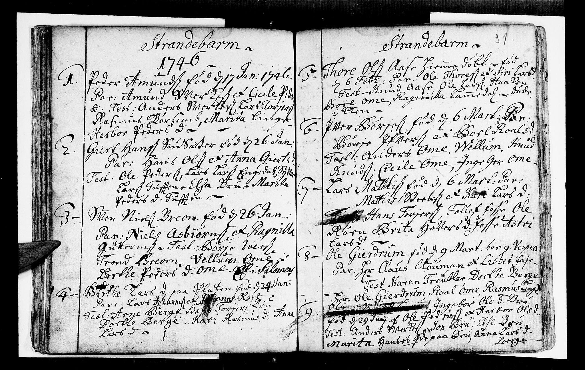 SAB, Strandebarm Sokneprestembete, H/Haa: Ministerialbok nr. A 2 /1, 1727-1750, s. 31