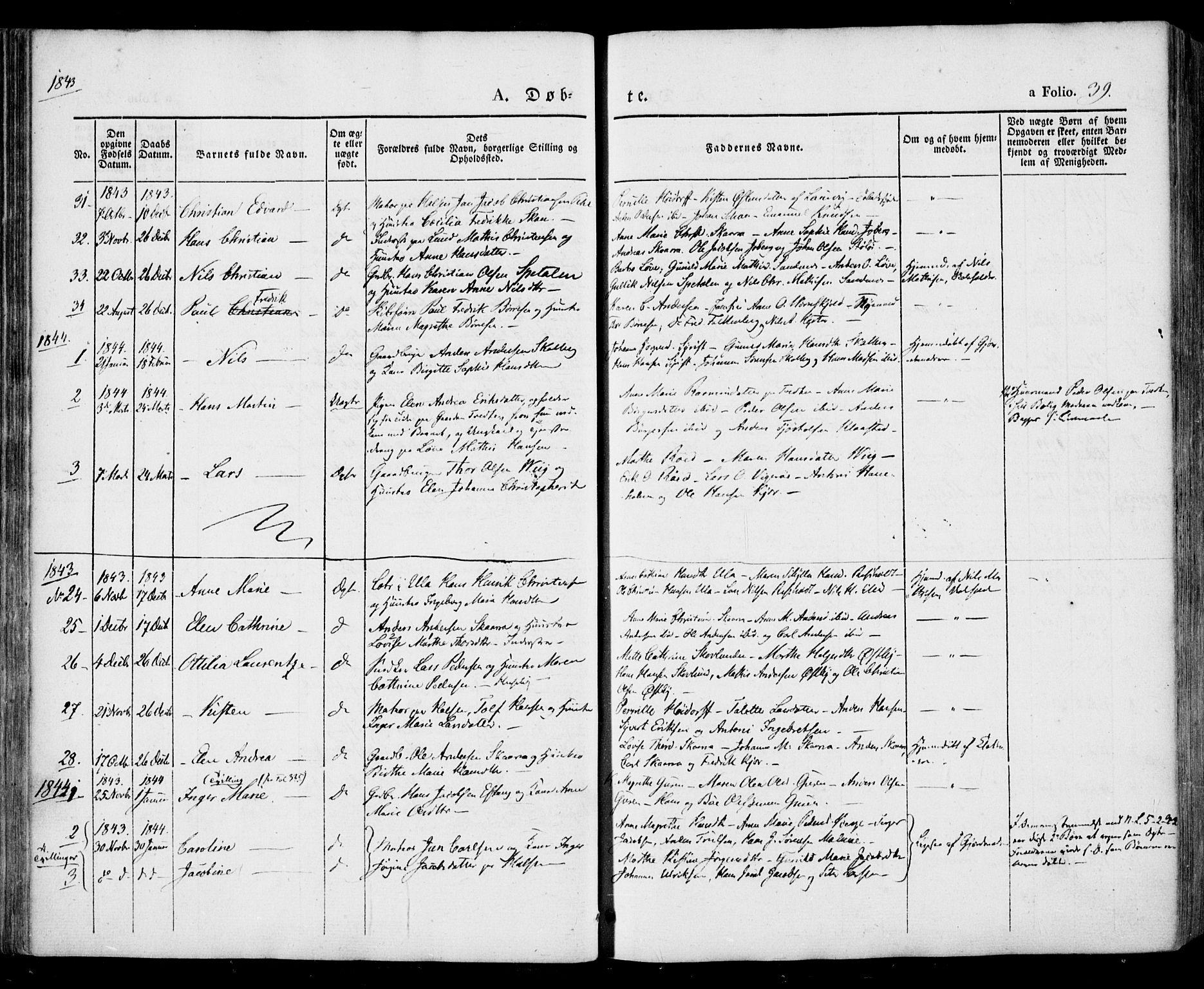 SAKO, Tjølling kirkebøker, F/Fa/L0006: Ministerialbok nr. 6, 1835-1859, s. 39