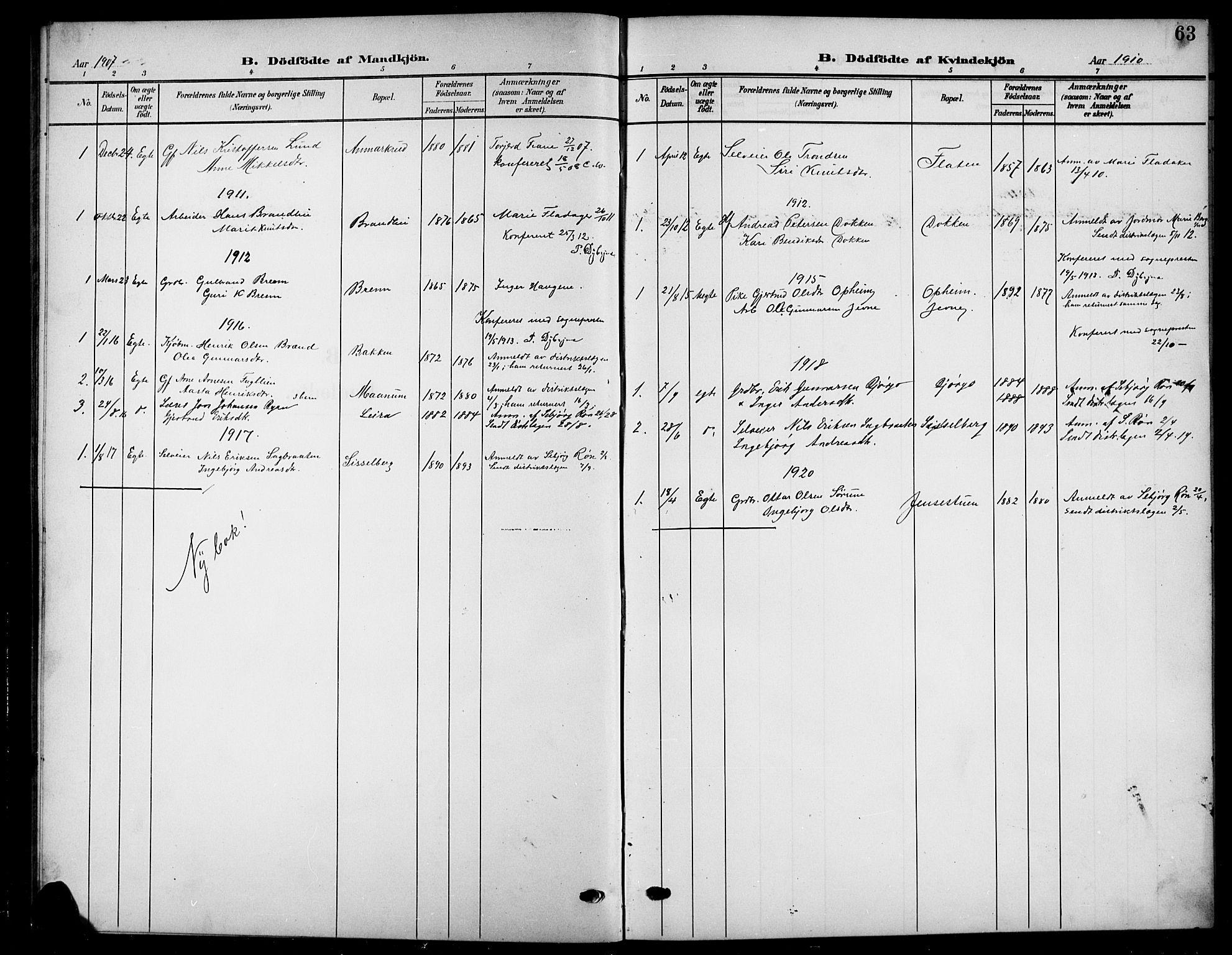 SAH, Nord-Aurdal prestekontor, Klokkerbok nr. 12, 1907-1920, s. 63