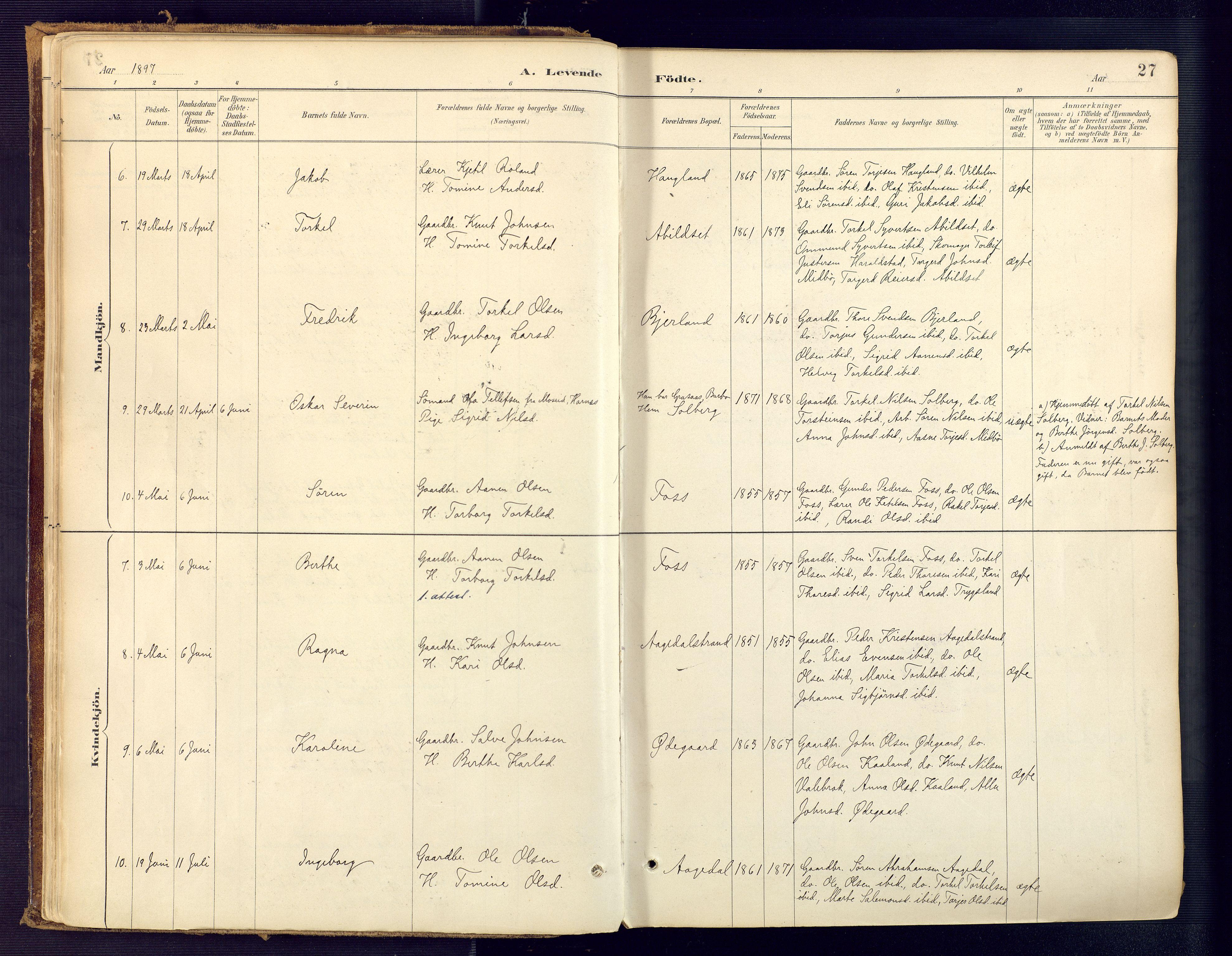 SAK, Bjelland sokneprestkontor, F/Fa/Faa/L0004: Ministerialbok nr. A 4, 1887-1923, s. 27
