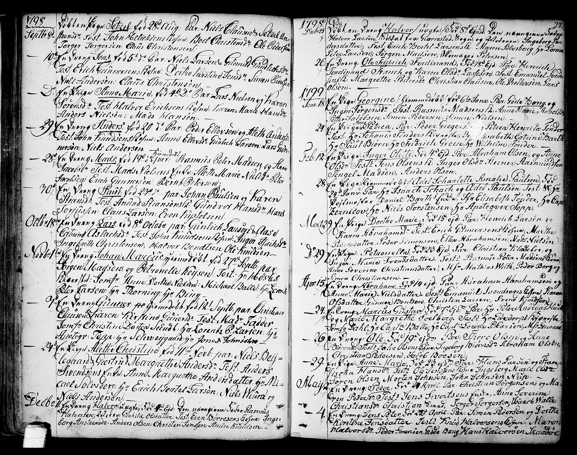 SAKO, Kragerø kirkebøker, F/Fa/L0002: Ministerialbok nr. 2, 1767-1802, s. 77