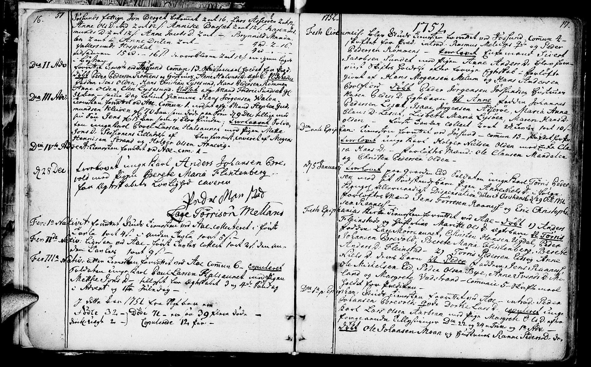 SAT, Ministerialprotokoller, klokkerbøker og fødselsregistre - Sør-Trøndelag, 655/L0672: Ministerialbok nr. 655A01, 1750-1779, s. 16-17
