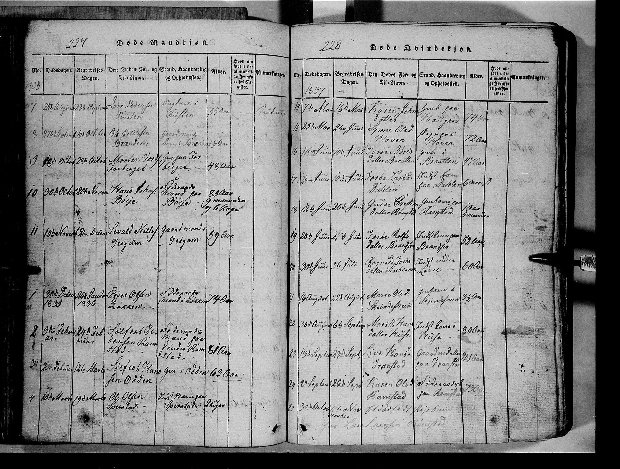 SAH, Lom prestekontor, L/L0003: Klokkerbok nr. 3, 1815-1844, s. 227-228