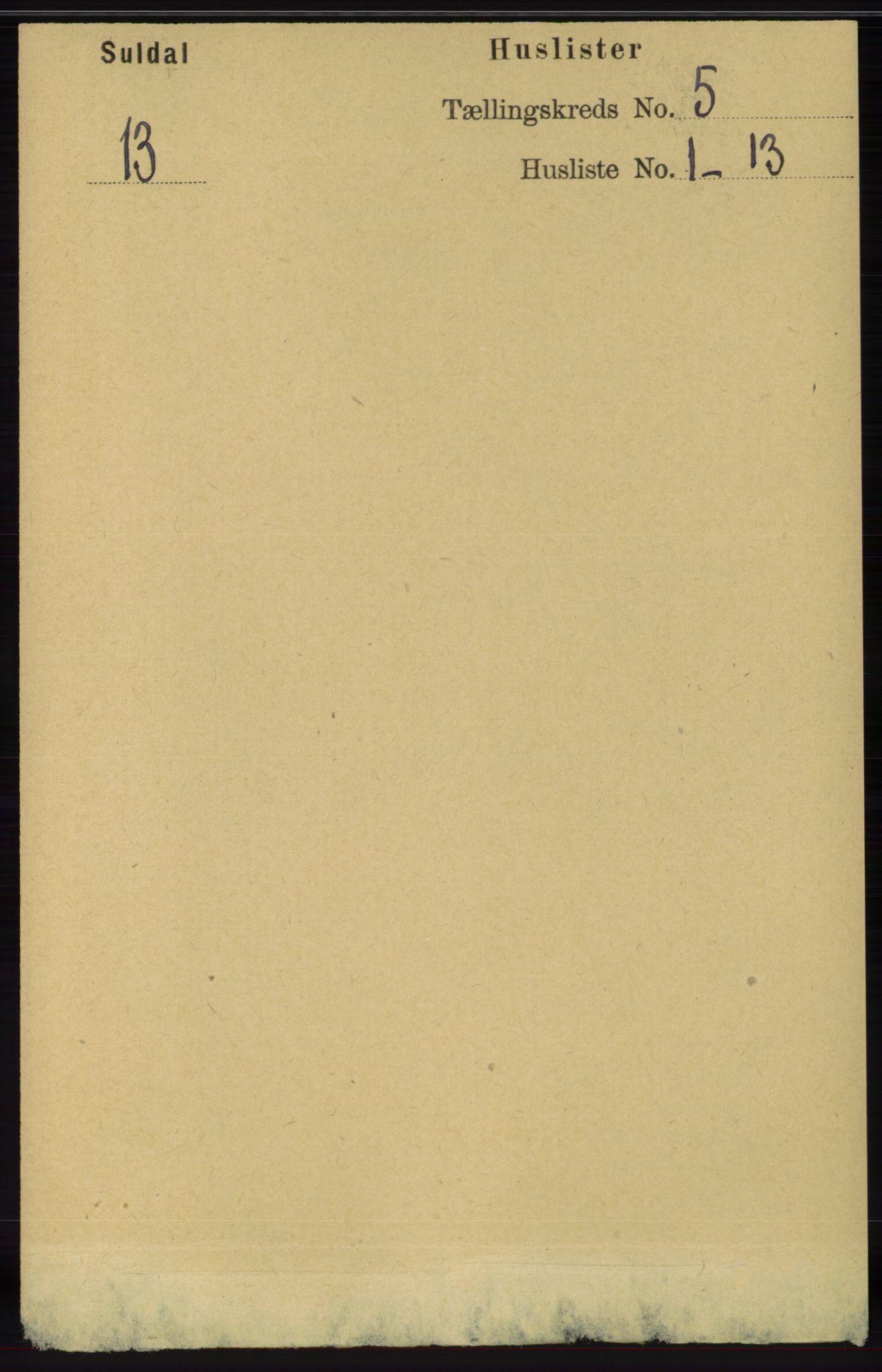 RA, Folketelling 1891 for 1134 Suldal herred, 1891, s. 1443