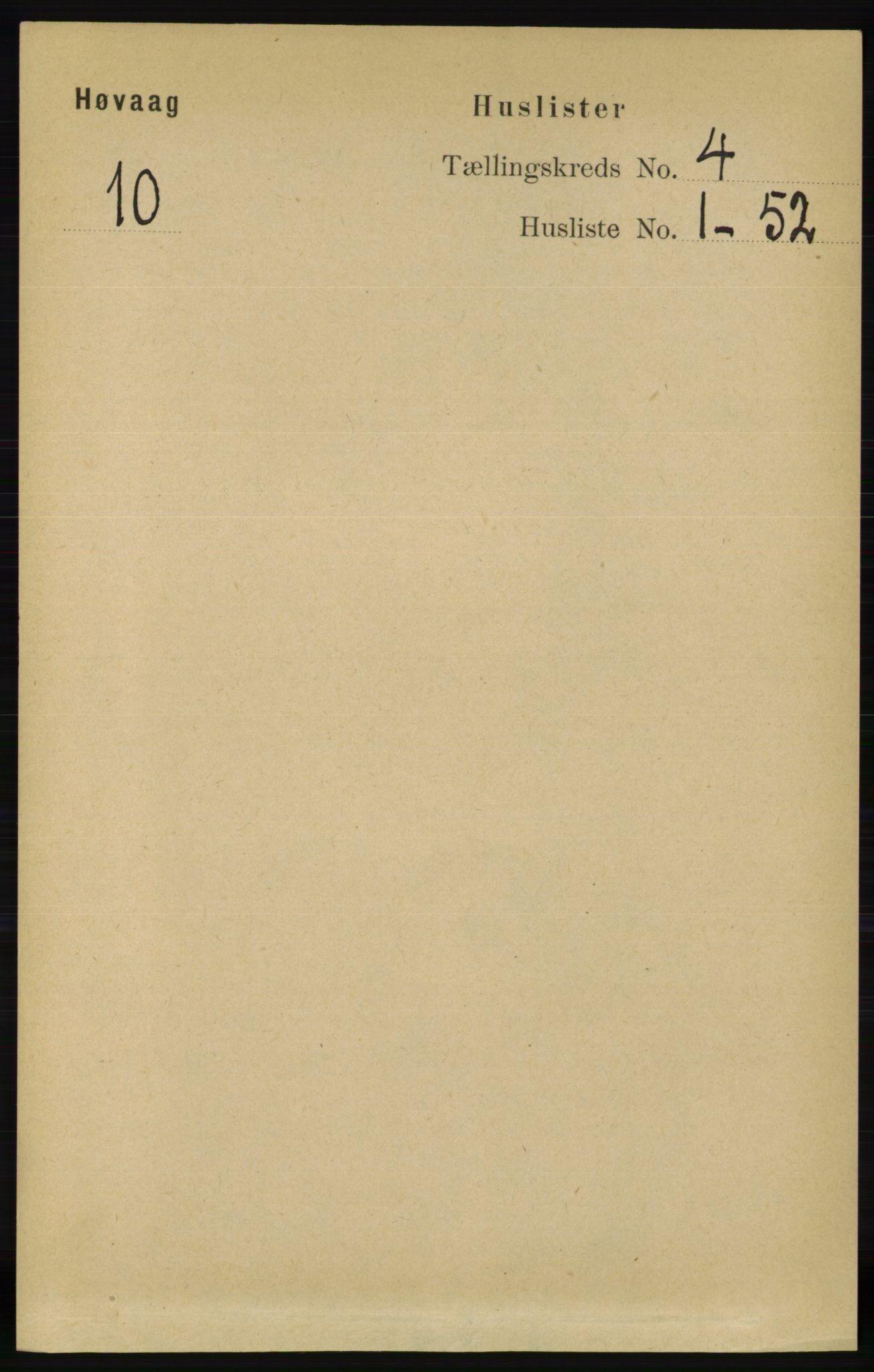 RA, Folketelling 1891 for 0927 Høvåg herred, 1891, s. 1454