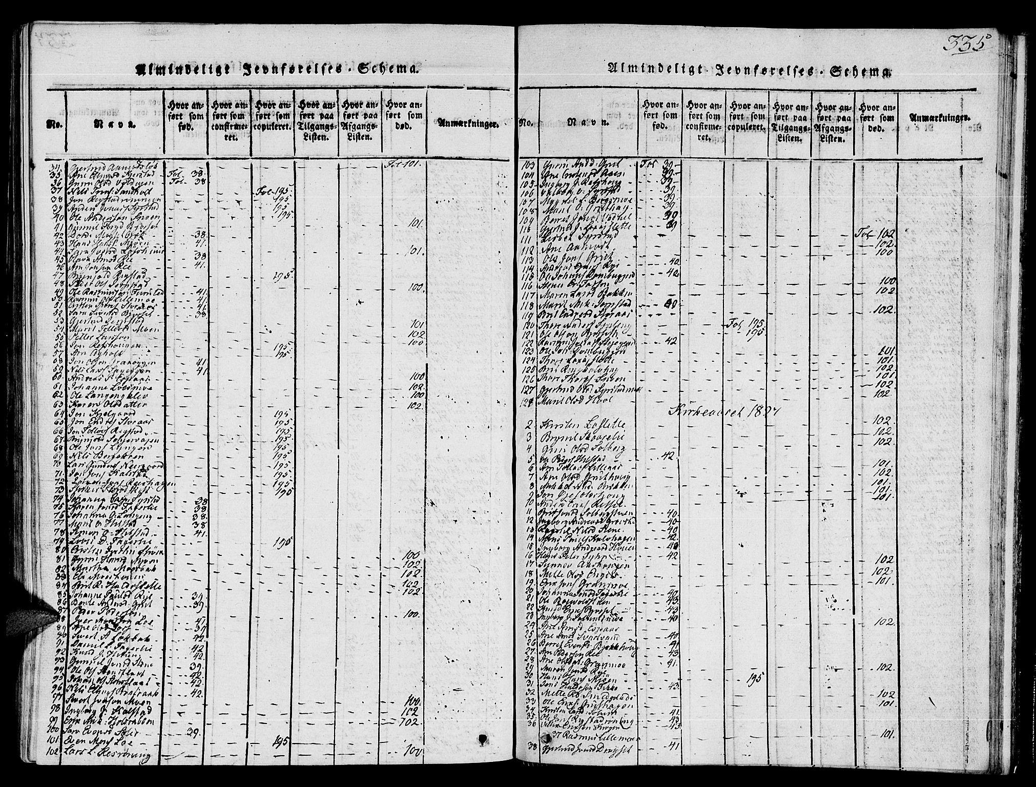 SAT, Ministerialprotokoller, klokkerbøker og fødselsregistre - Sør-Trøndelag, 672/L0853: Ministerialbok nr. 672A06 /1, 1816-1829, s. 335